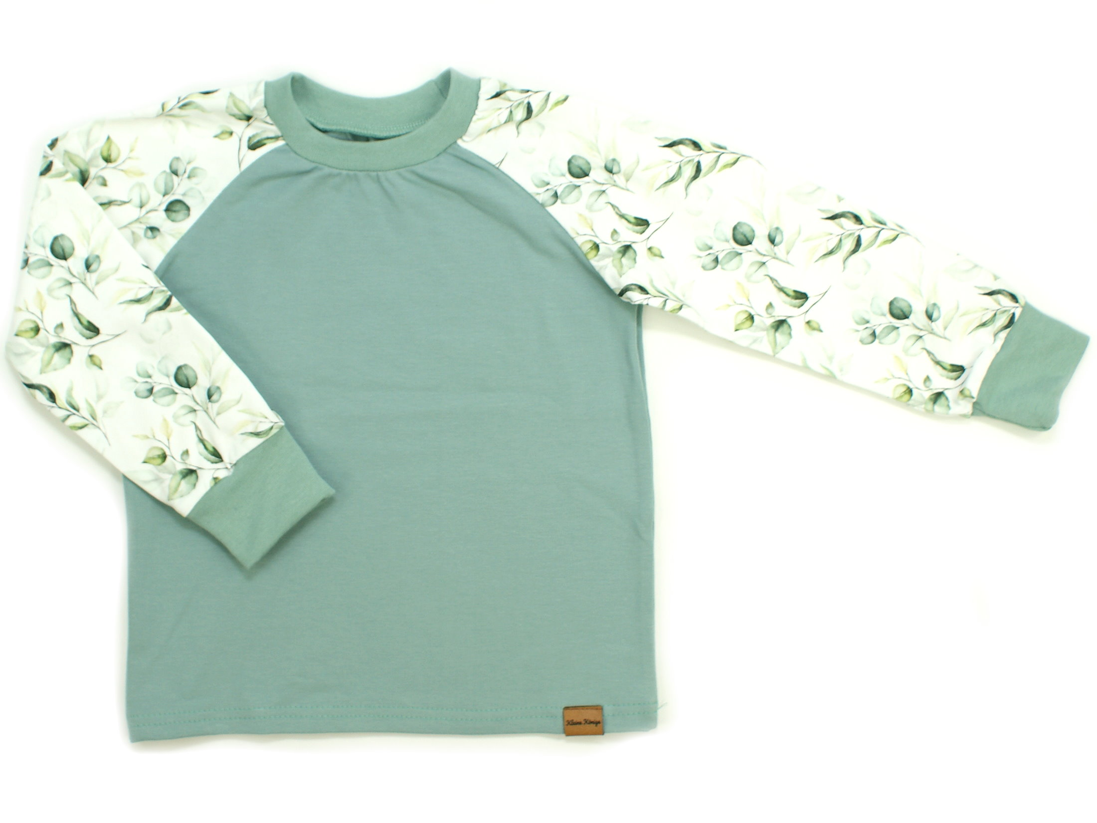 "Kinder Langarmshirt ""Eukalyptus"" mint weiß"