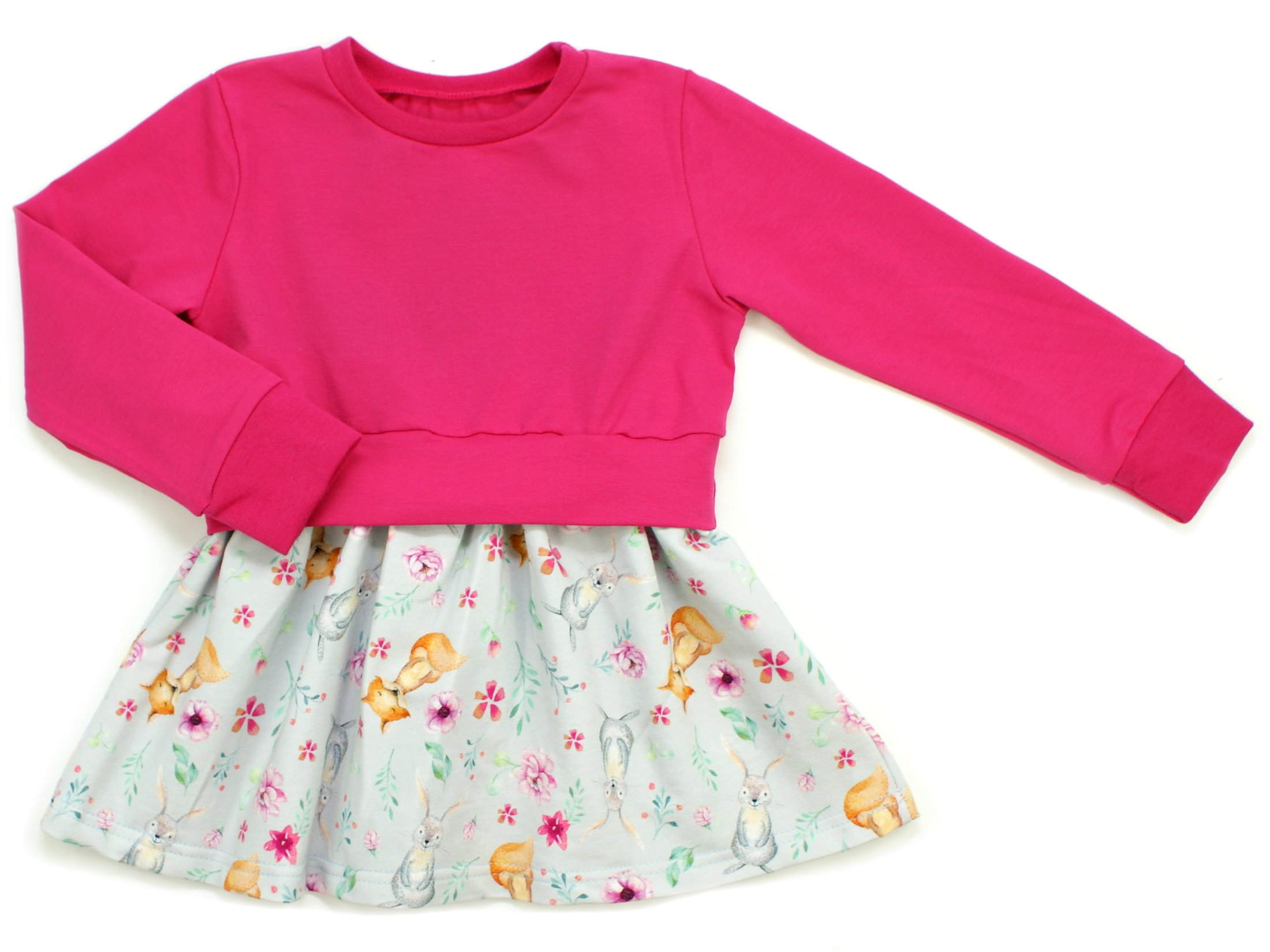 "Girly Dress Kinderkleid Hase Fuchs ""Bloomy Wood"" hellgrau pink"