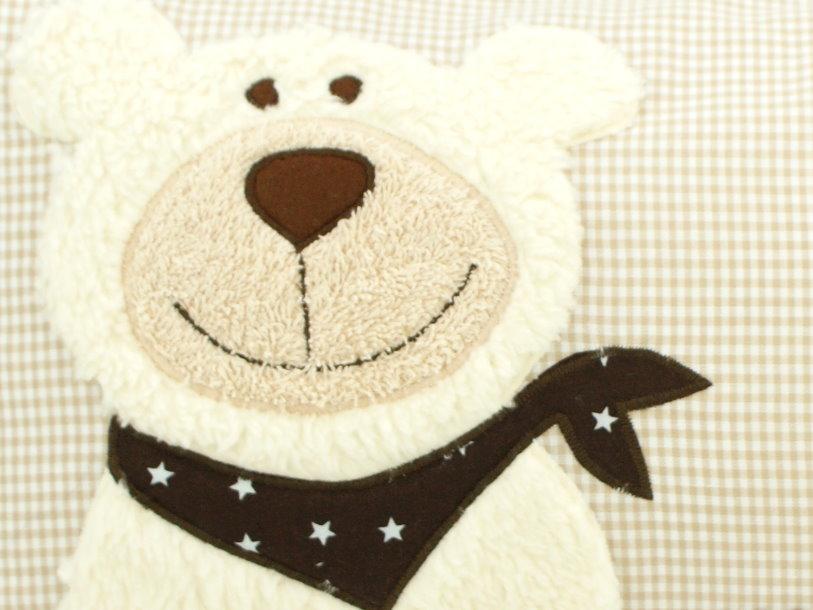 """Namenskissen """"Teddy"""" Vichy Karo beige mit Namen bestickt"""