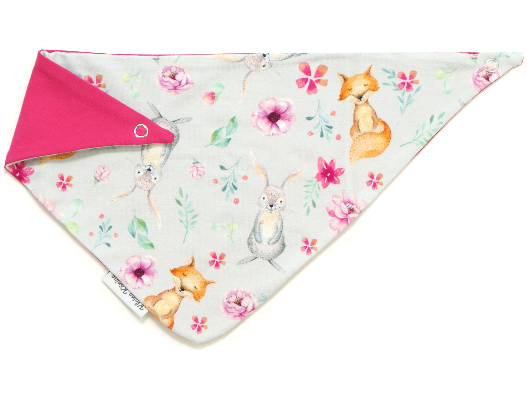 "Baby Wende-Halstuch Hase Fuchs ""Bloomy Wood"" hellgrau pink"