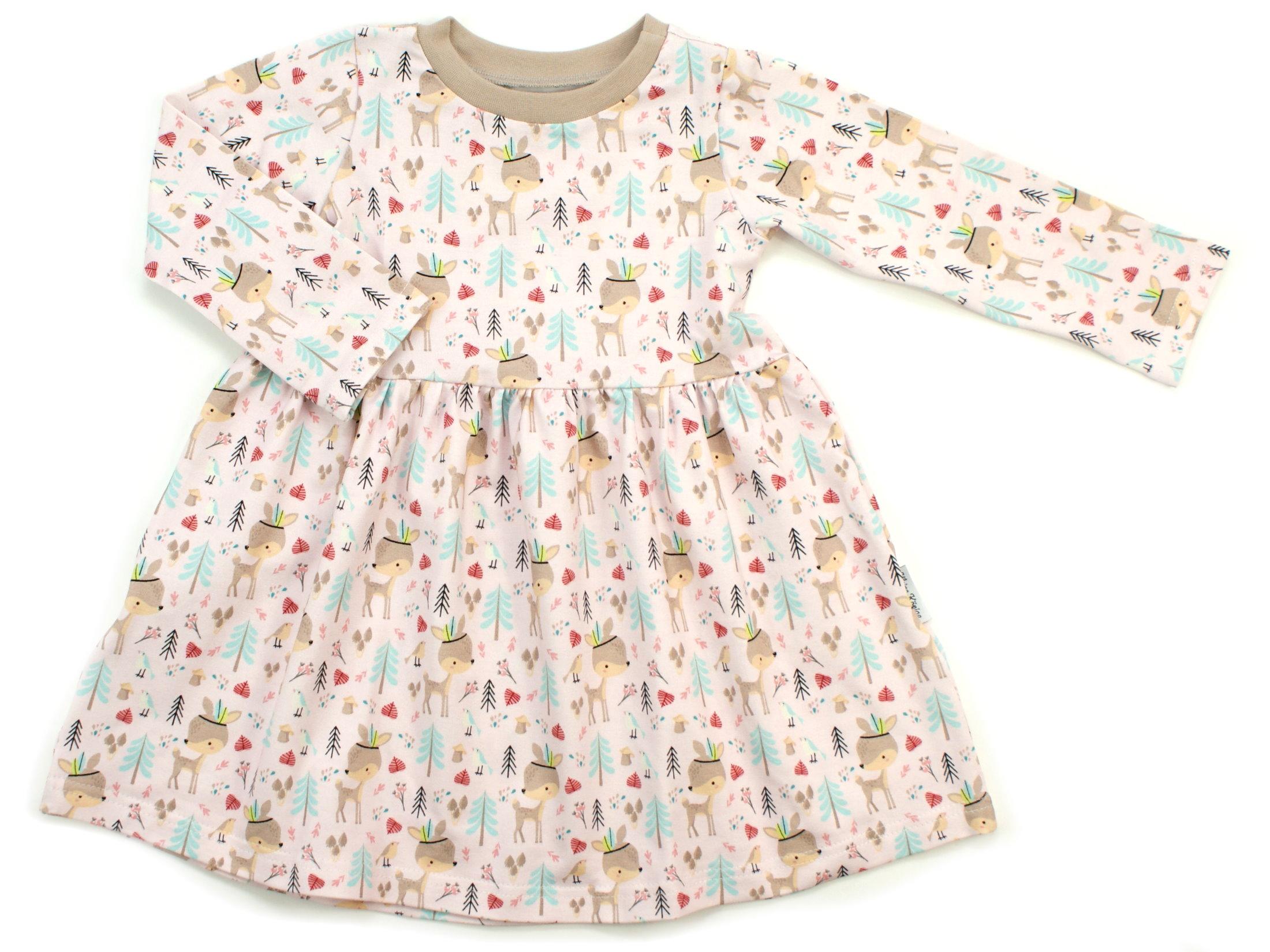 """Kinderkleid Tunika Boho """"Reh"""" beige rosa"""