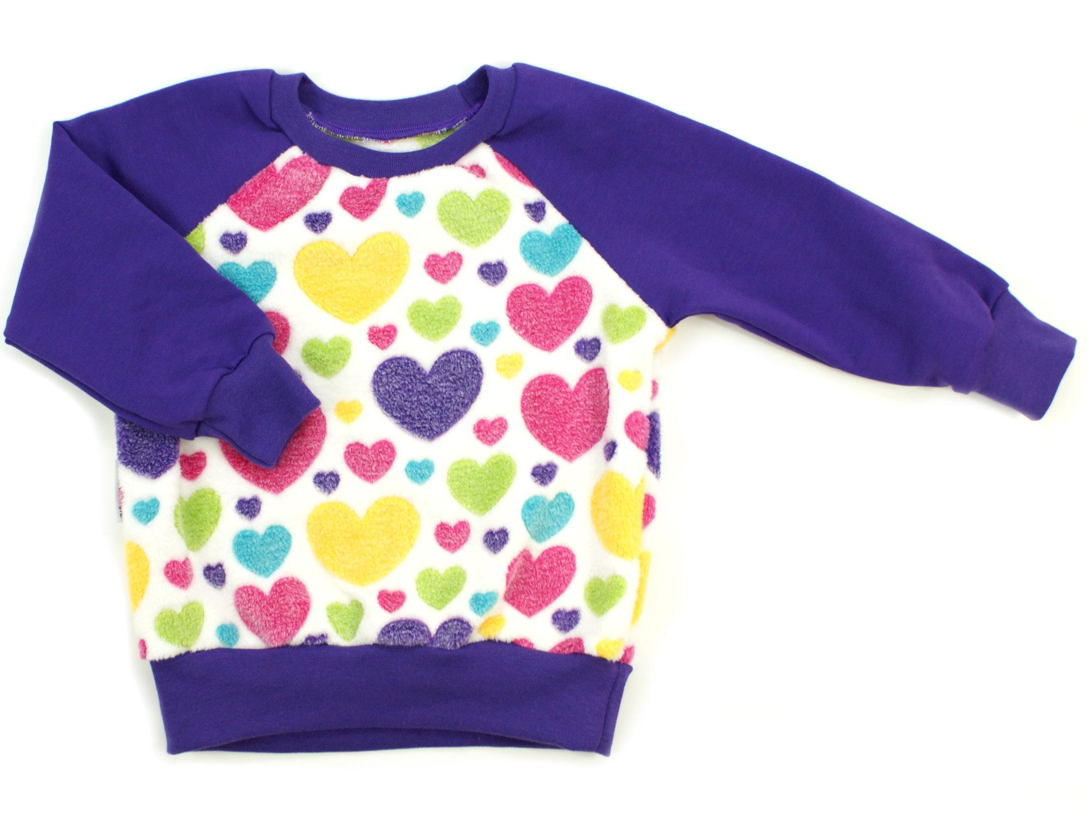 "Kinder Pullover ""Hearts"" bunt aus Kuschelfleece"