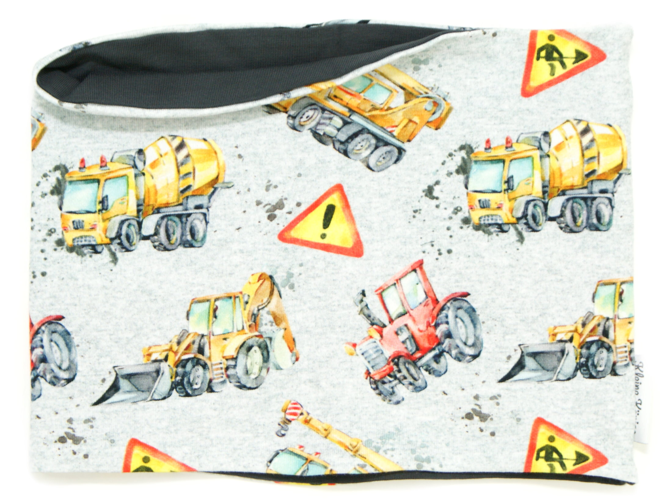 "Kinderloop Schal Traktor Bagger ""Danger Zone"" grau"