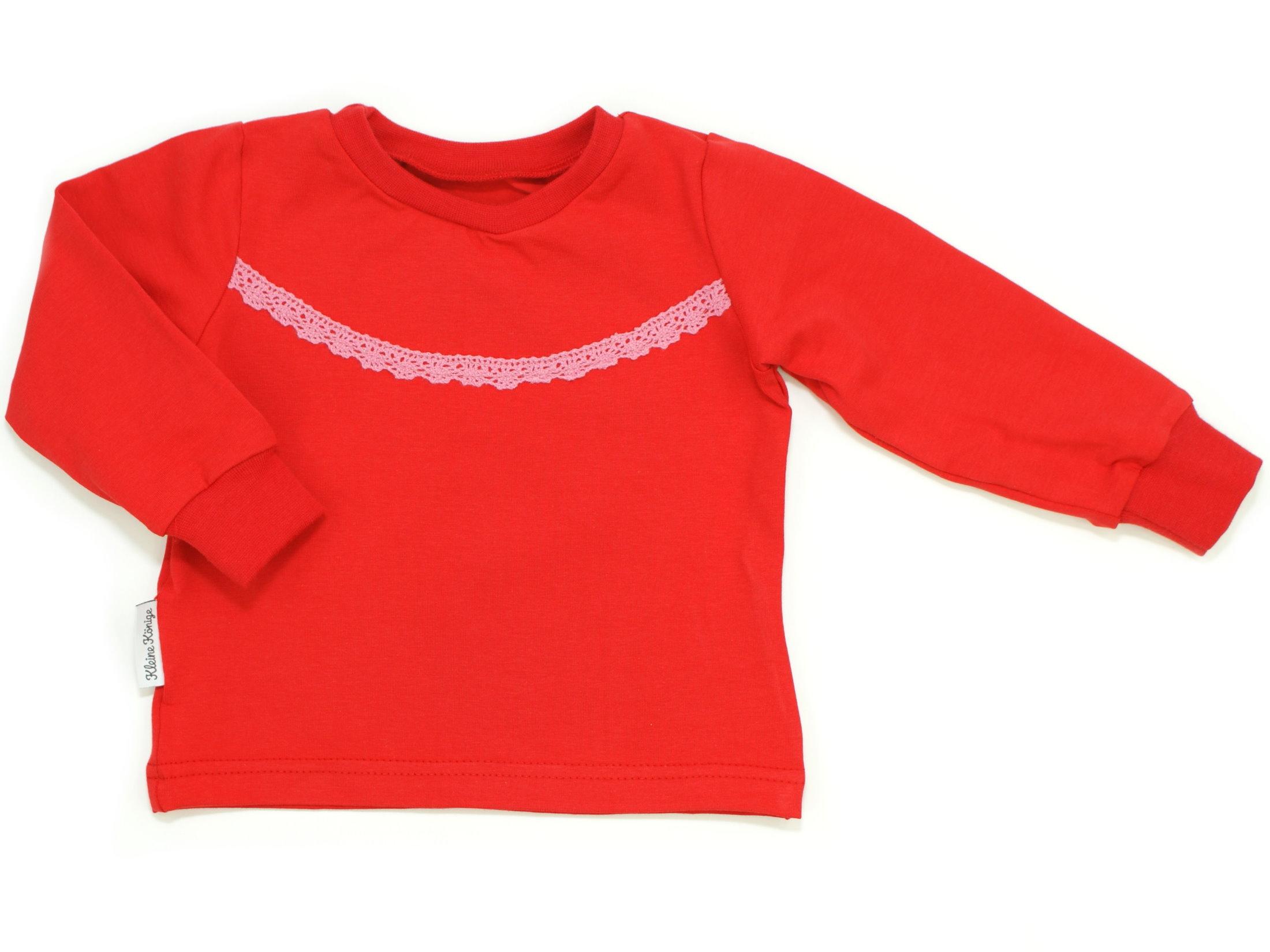 Kinder Langarmshirt uni rot Spitze rosa