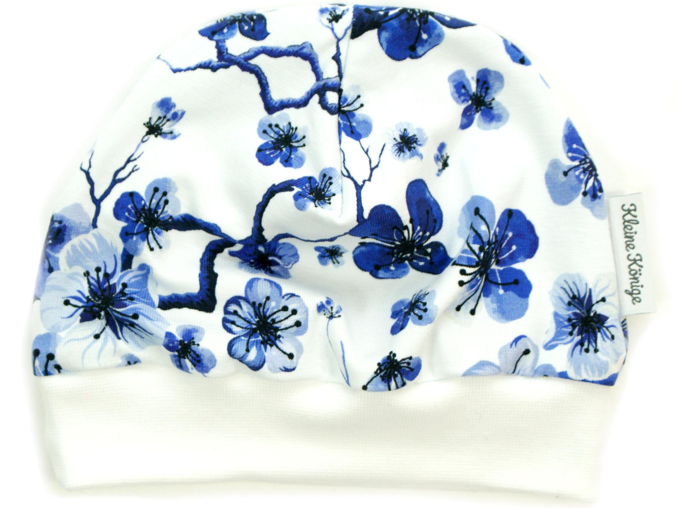 """Kindermütze Blumen """"Blue Flowers"""" blau weiß"""