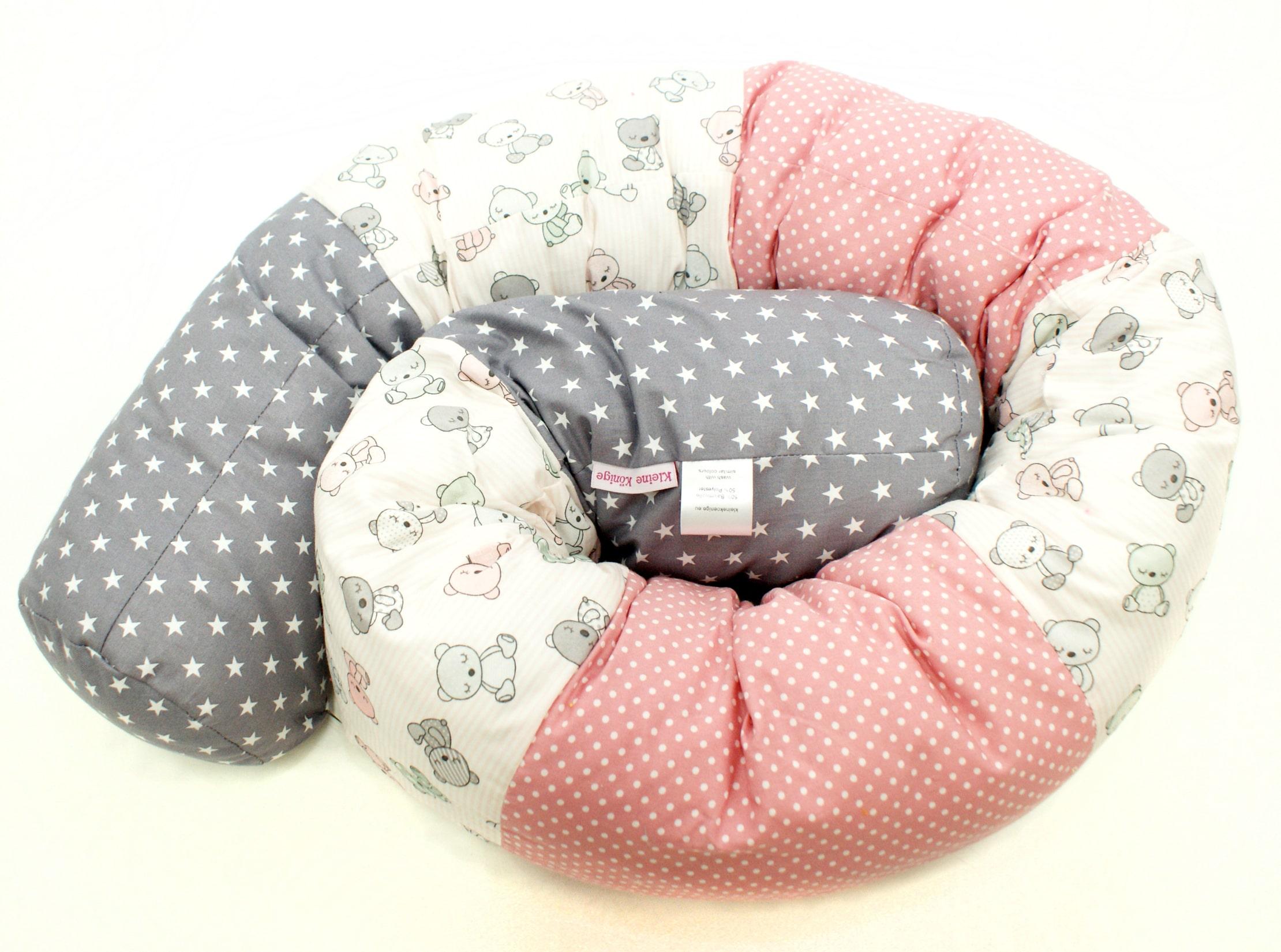 """Baby Bettschlange Nestchen """"Teddybär"""" rosa grau"""