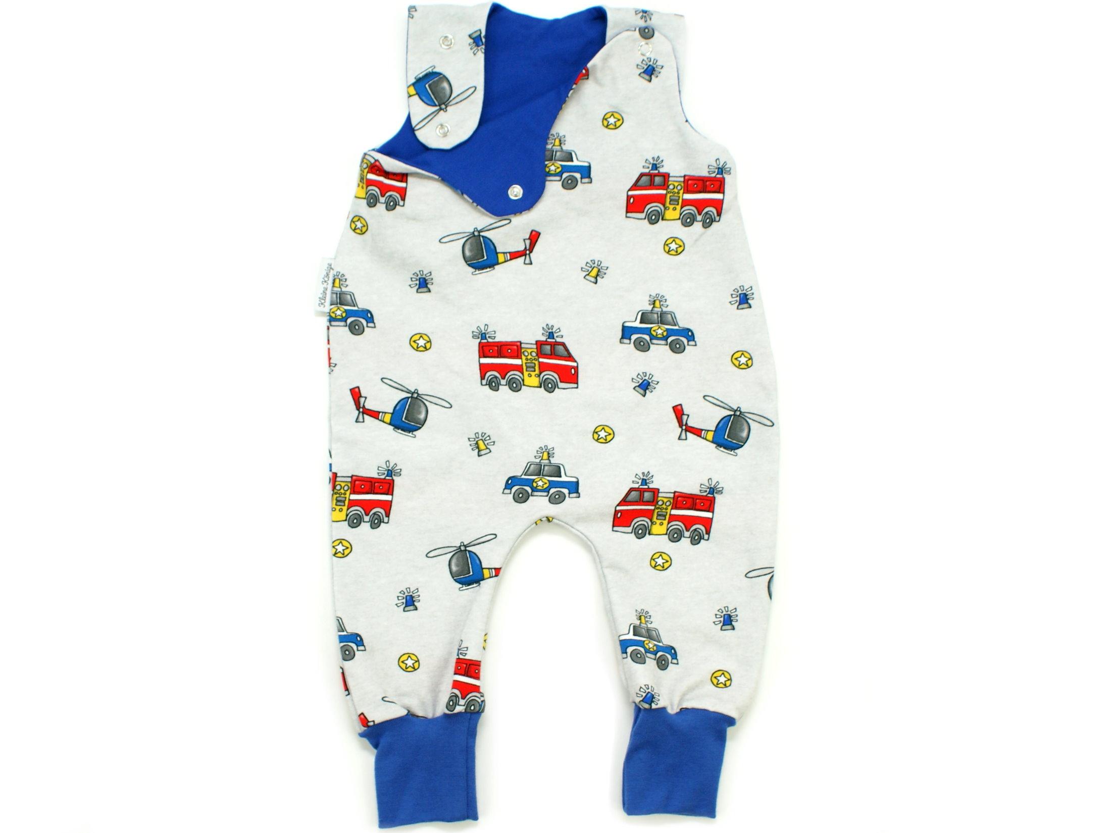 """Baby Strampler Feuerwehr Polizei """"Rescue Cars"""" blau"""
