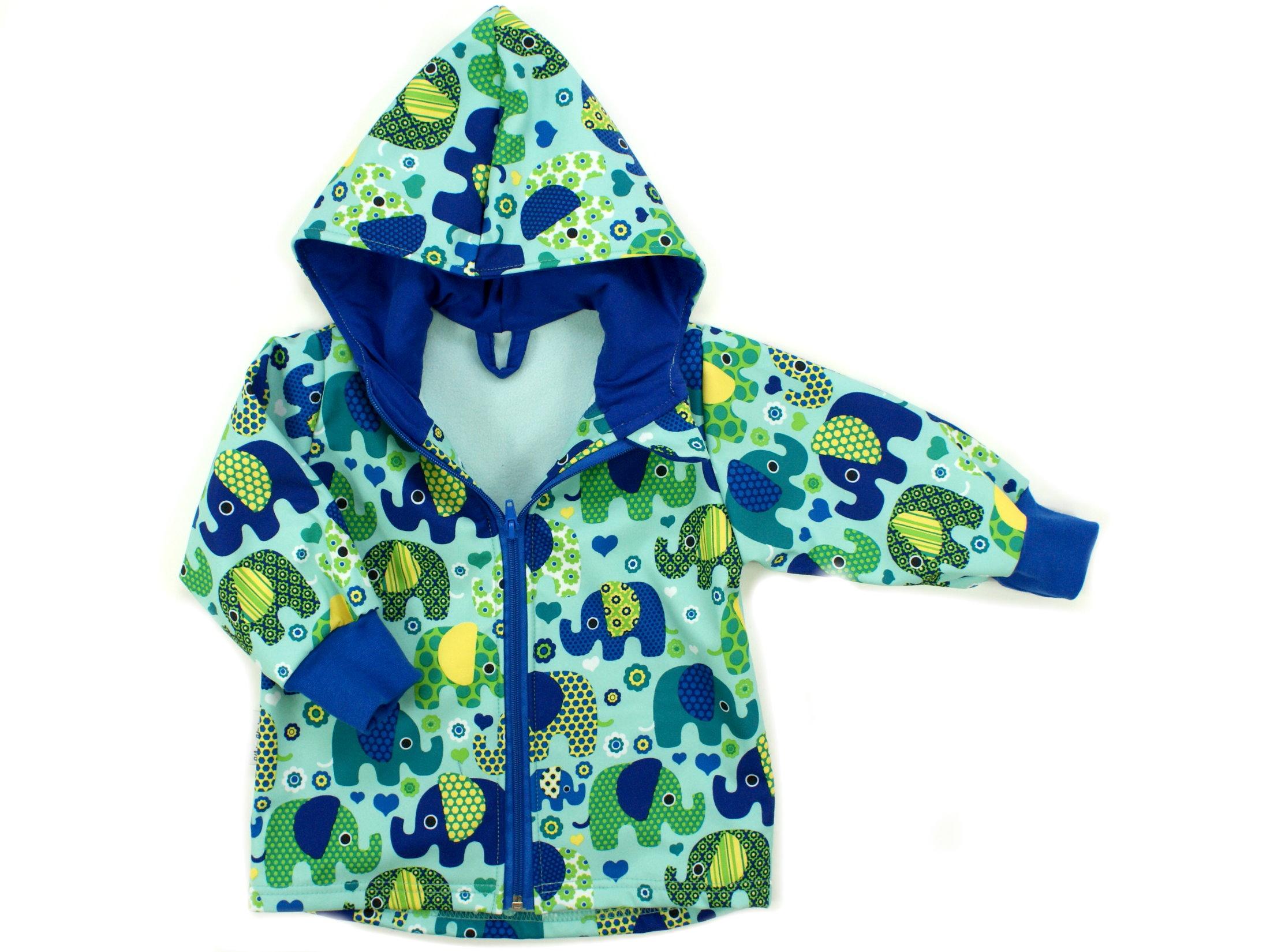 """Kinder Softshell-Jacke """"Elefantenparty"""" blau türkis"""