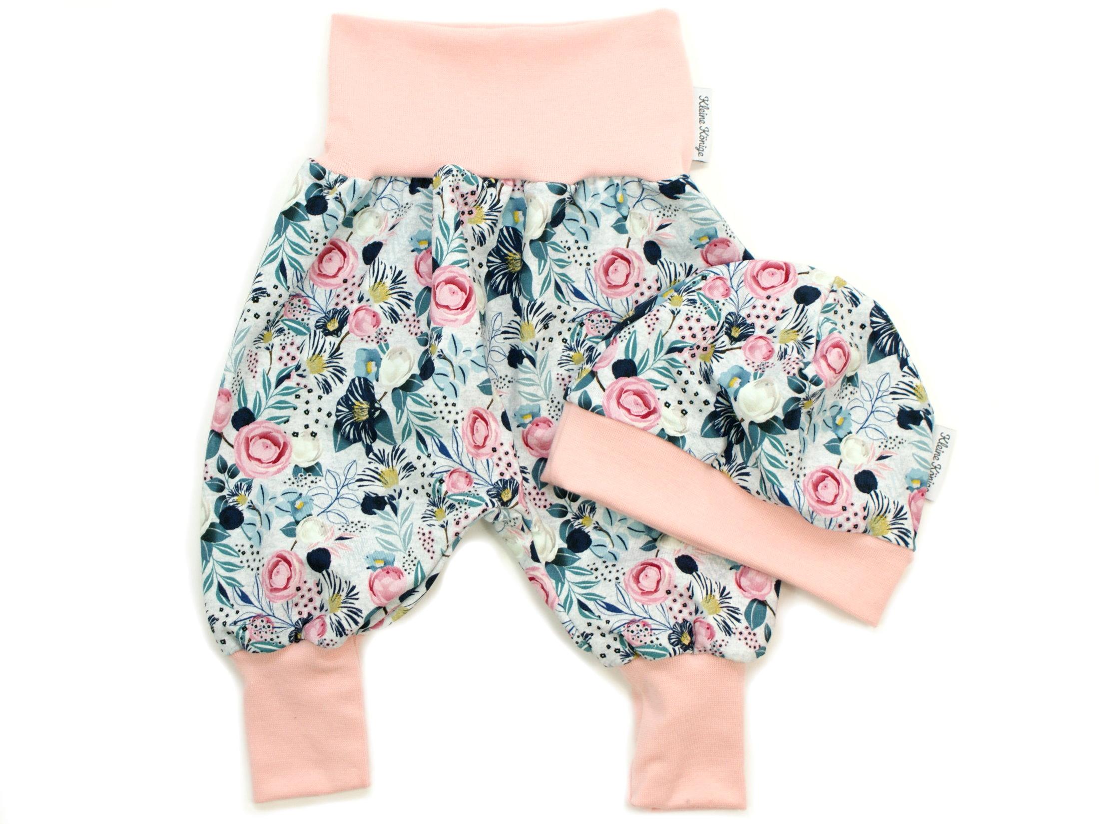 """Baby Pumphose Blumen """"Charming Flowers"""" mint rosé"""
