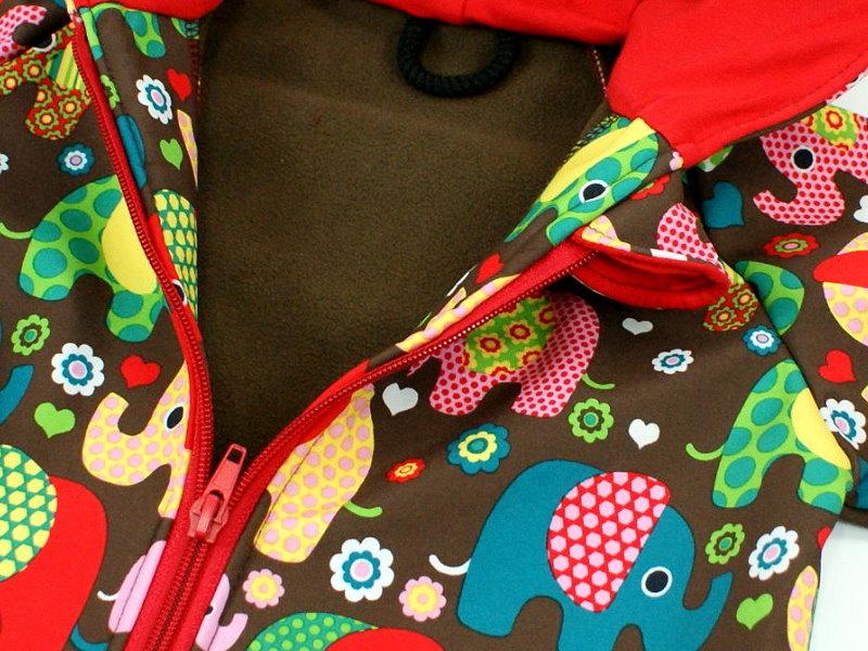 "Kinder Softshell-Jacke ""Elefantenparty"" rot braun"