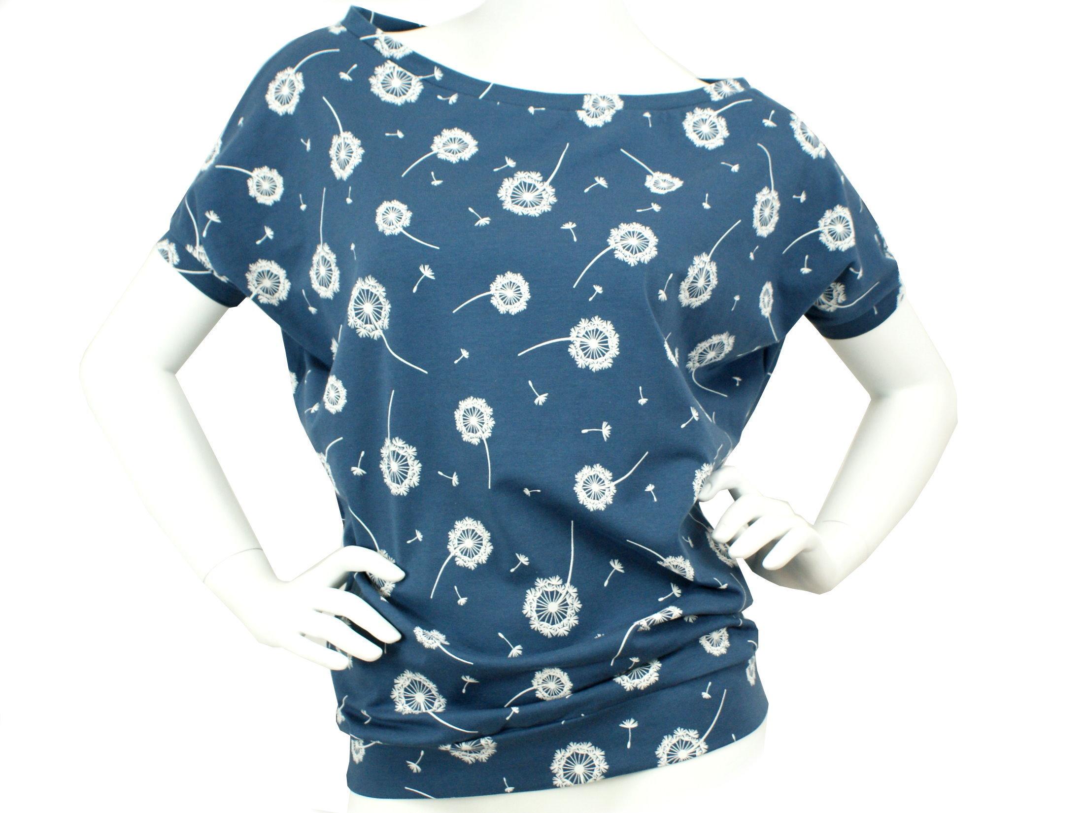 """Damen Fledermausshirt """"Pusteblumen"""" blau weiß"""