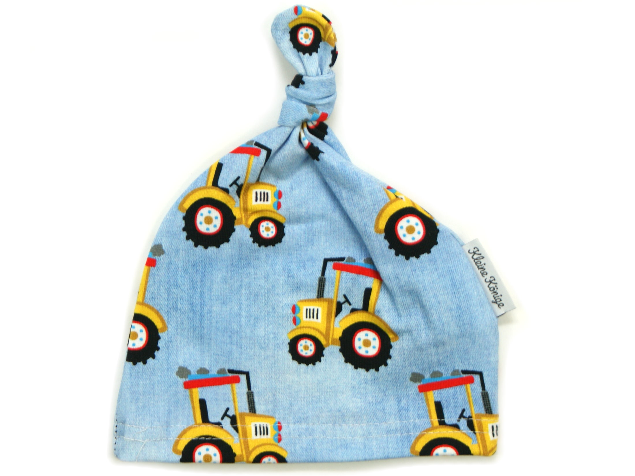 "Babymütze Knotenmütze ""Gelber Traktor"" jeansblau camel"