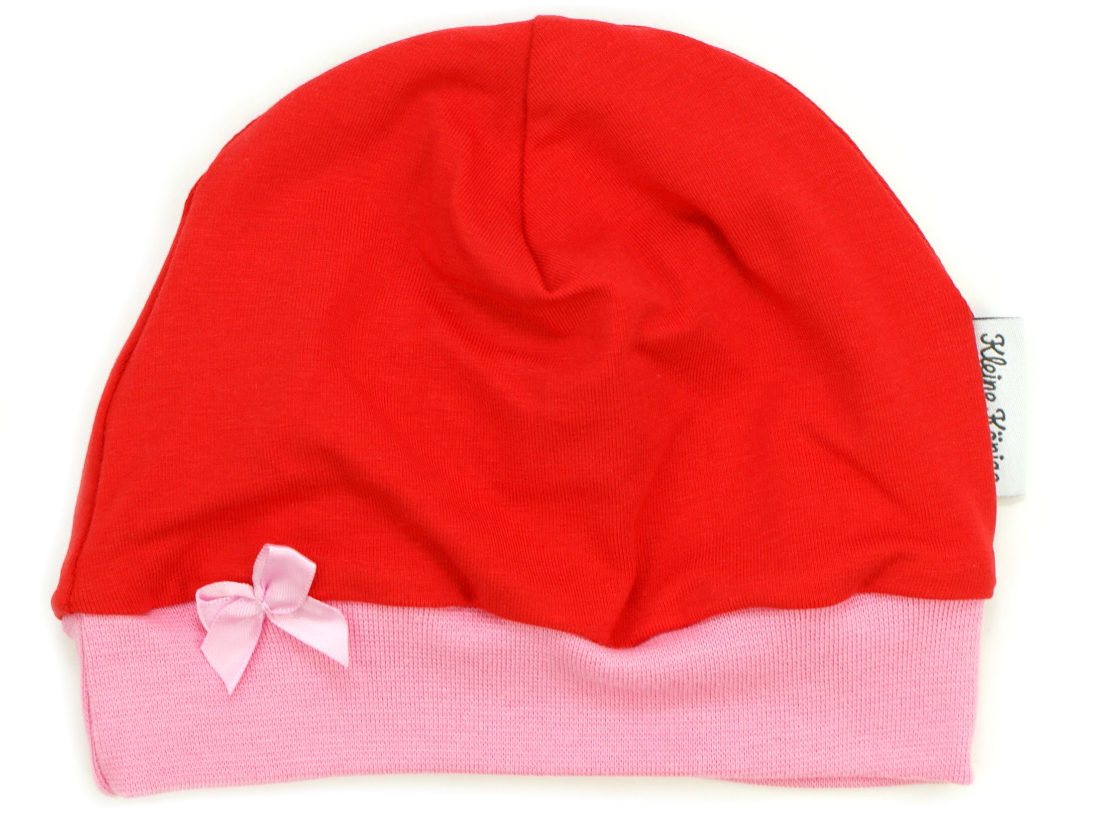 "Kindermütze ""Uni"" rot Schleife rosa"