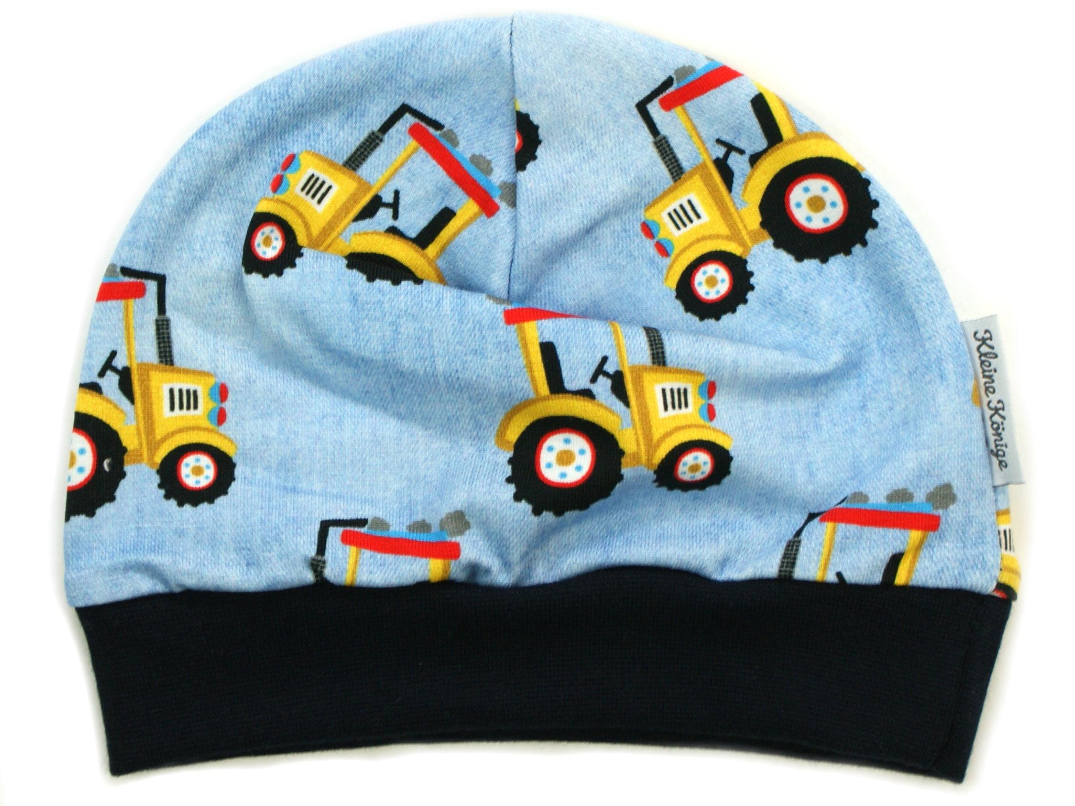 "Kindermütze ""Gelber Traktor"" hellblau"
