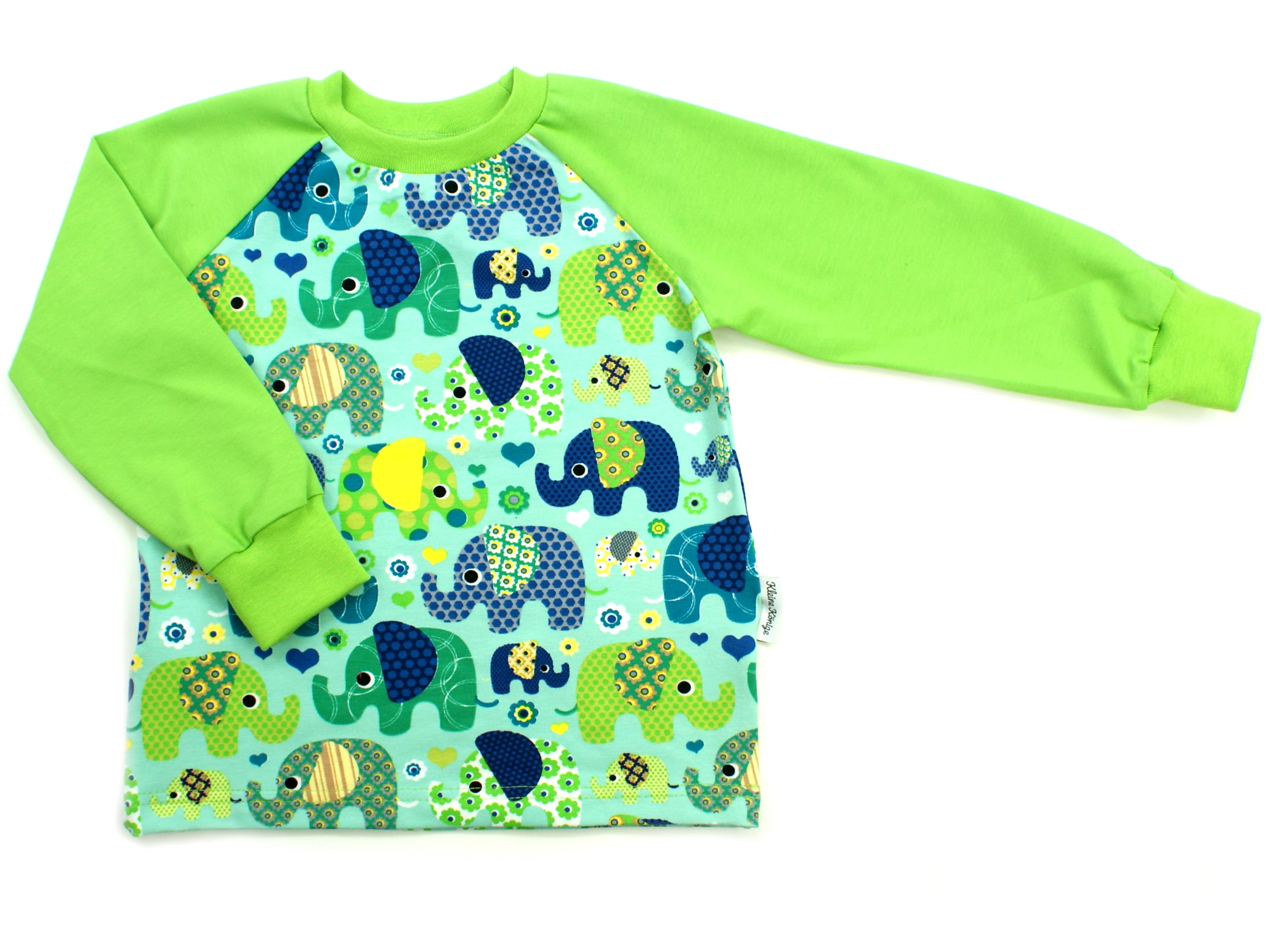 "Kinder Langarmshirt ""Elefantenparty"" türkis lemon"