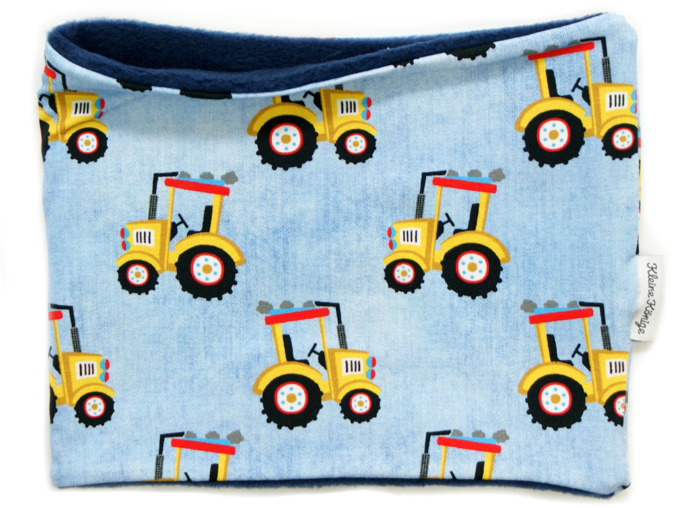 """Kinderloop Schal """"Gelber Traktor"""" hellblau"""