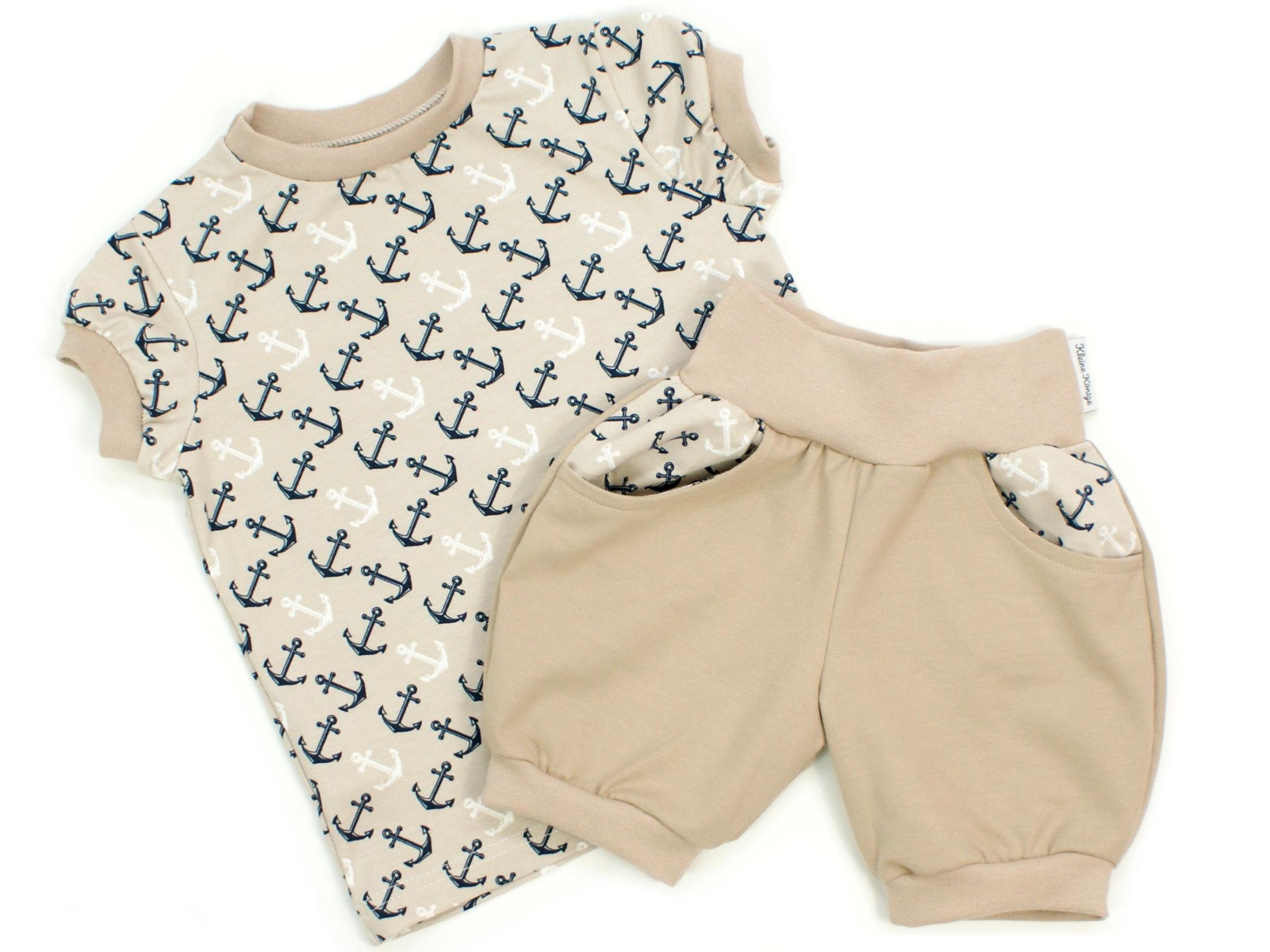 "Kinder T-Shirt ""Anker"" beige marineblau"