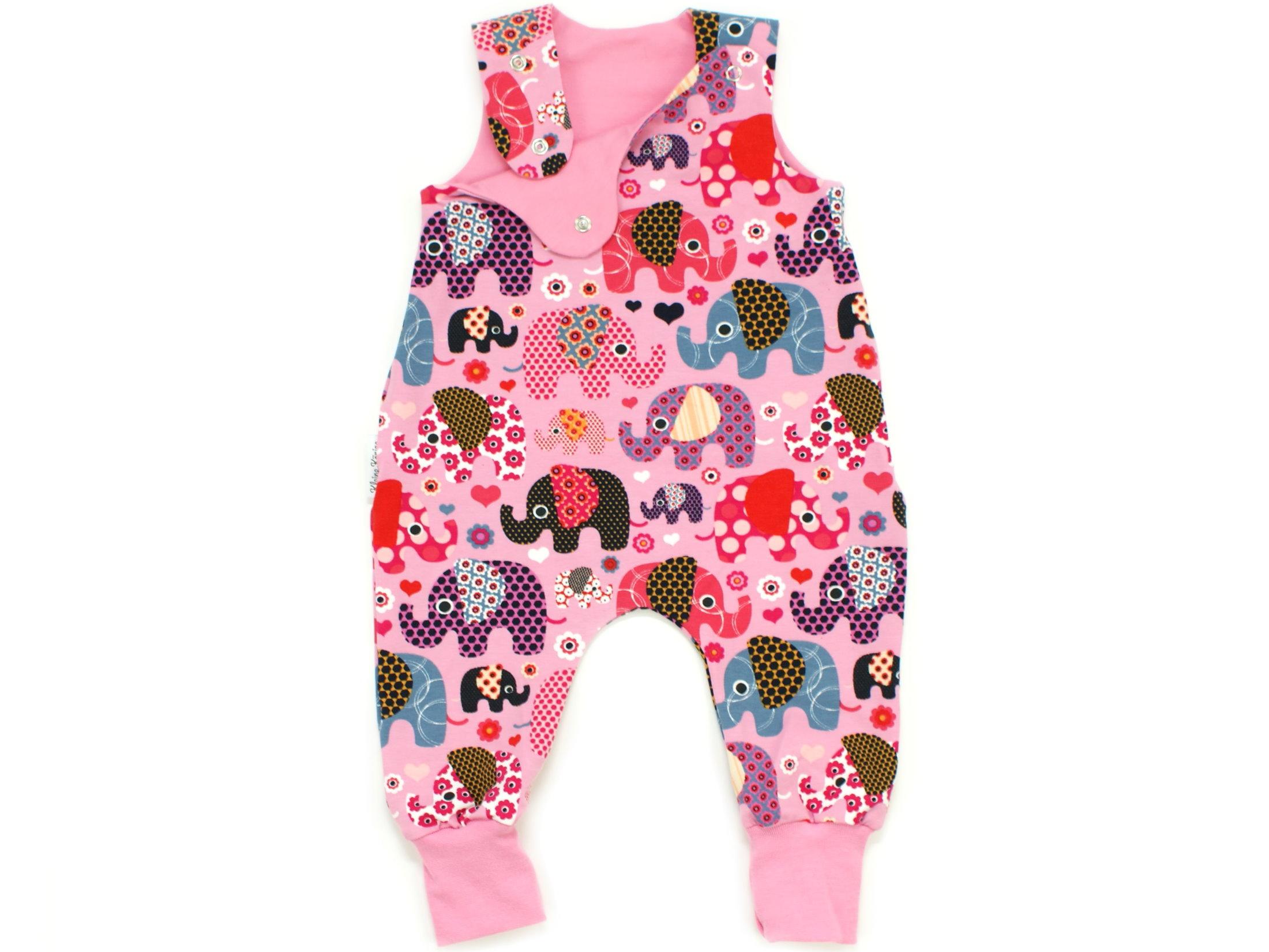 """Baby Strampler """"Elefantenparty"""" beere rosa"""