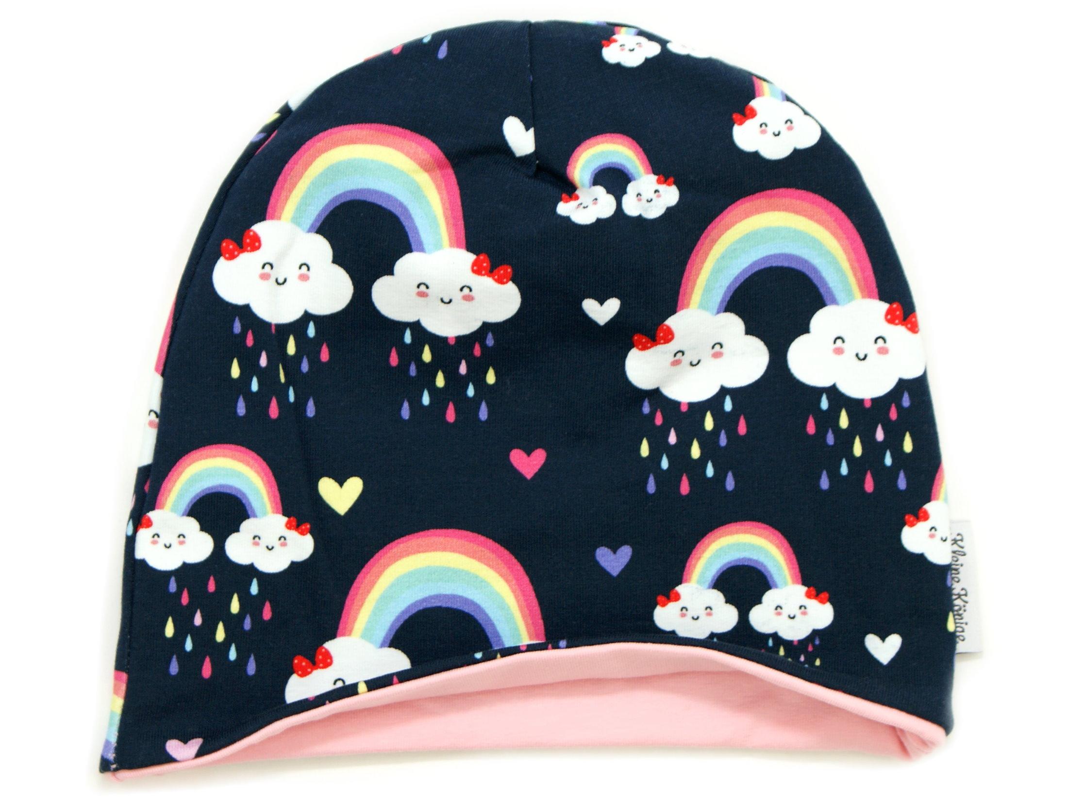 "Kindermütze Beanie Regenbogen ""Cloudy Rainbow"" marineblau"