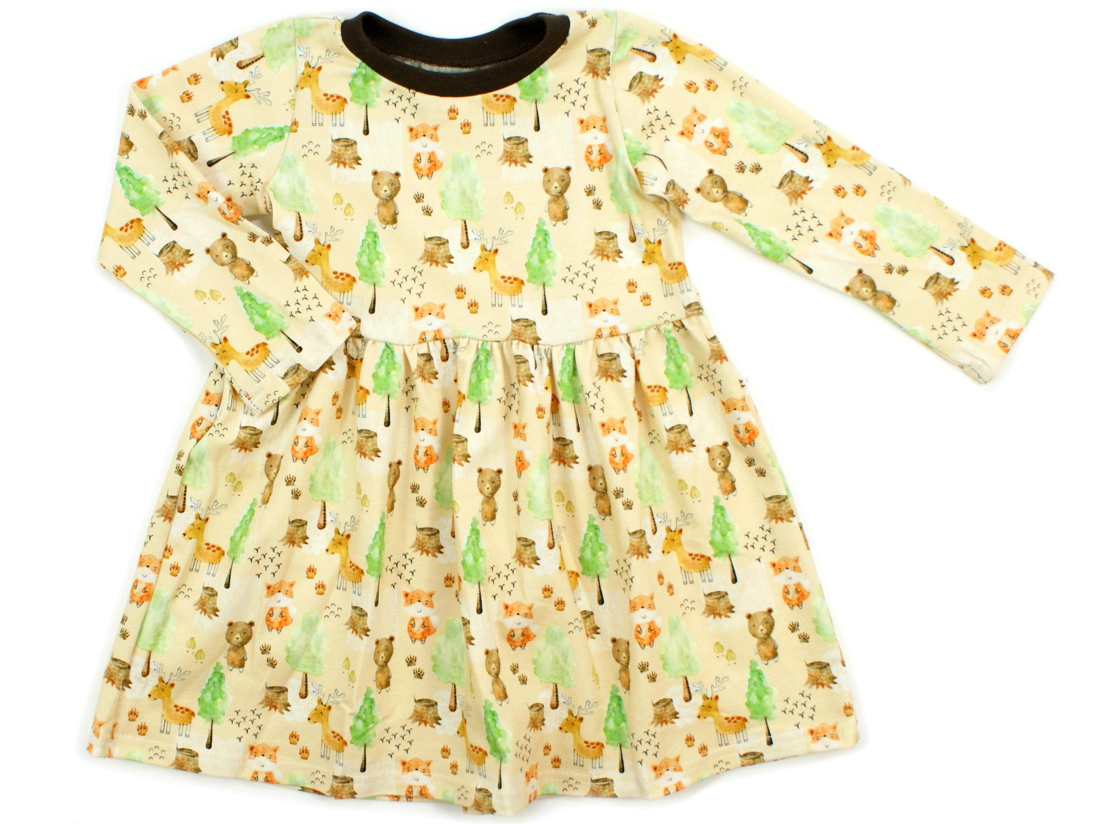 "Kinderkleid Tunika Waldtiere ""Herbstwald"" beige braun"