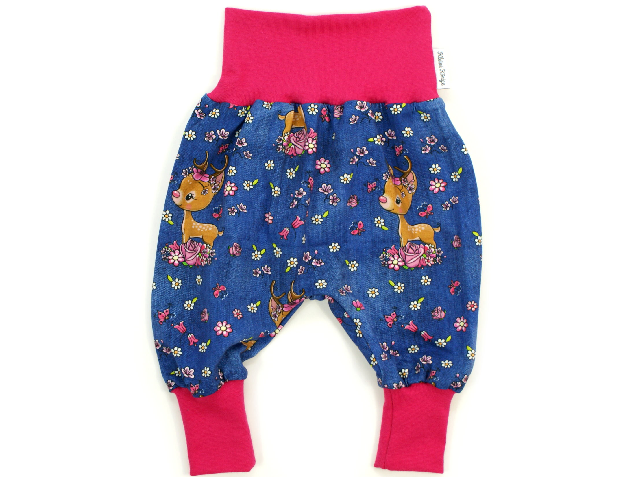 "Baby Pumphose Reh ""Bloomy Bambi"" jeansblau pink"