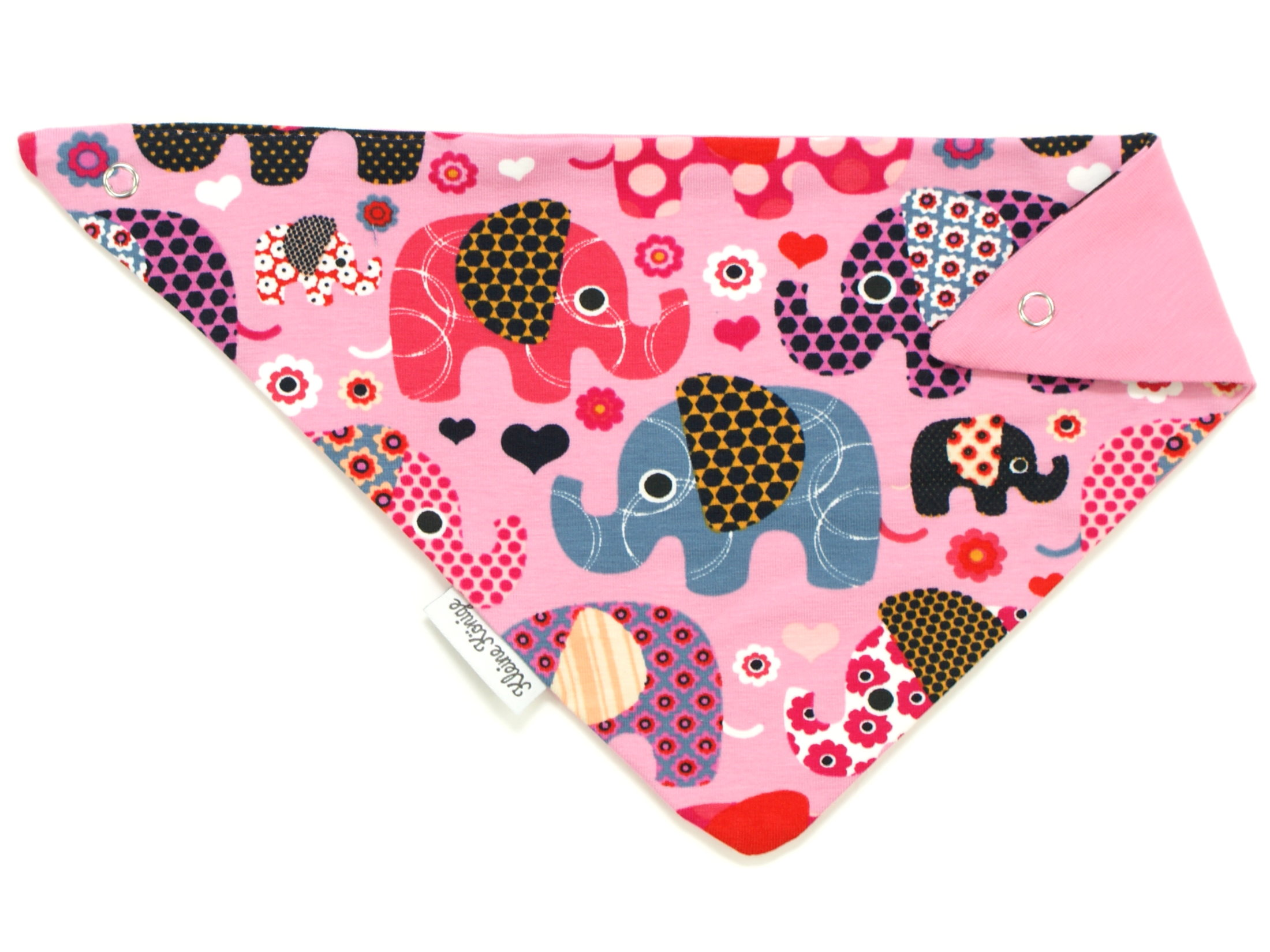 """Baby Wende-Halstuch """"Elefantenparty"""" rosa beere"""