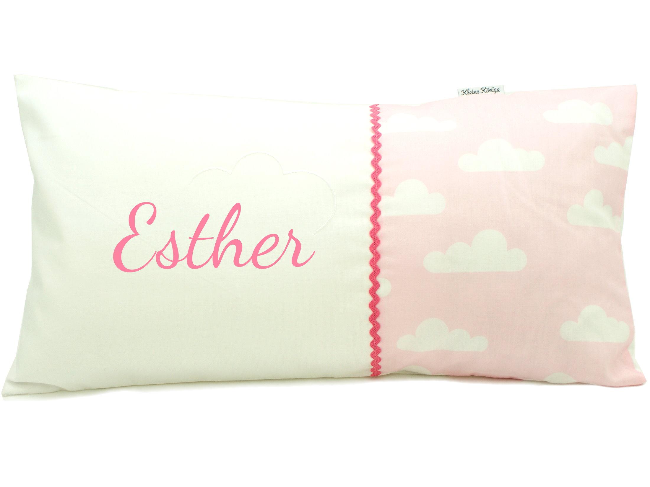 """Namenskissen """"Wolken"""" rosa Kissen mit Namen bestickt"""