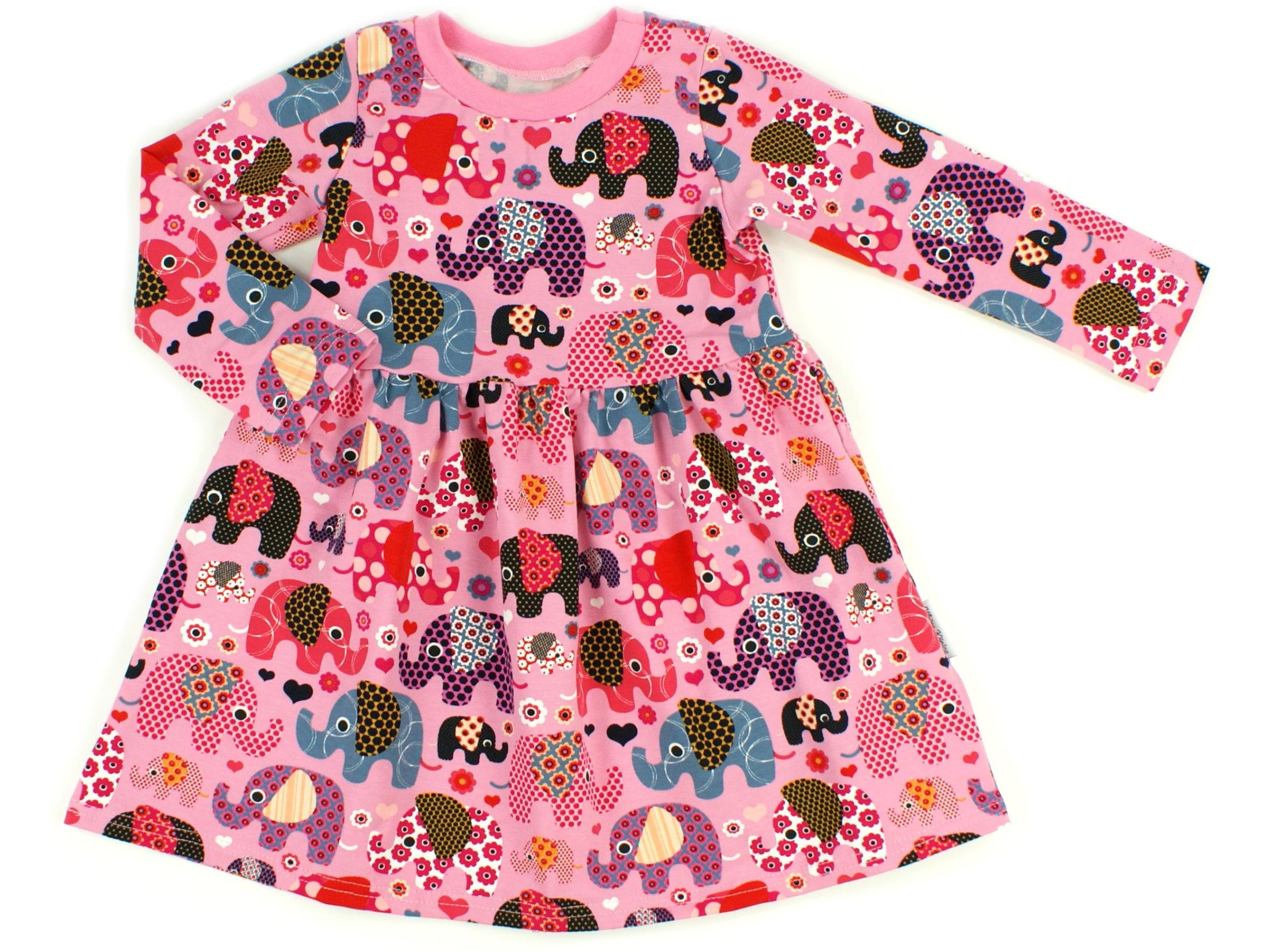 "Kinderkleid Tunika ""Elefantenparty"" beere rosa"