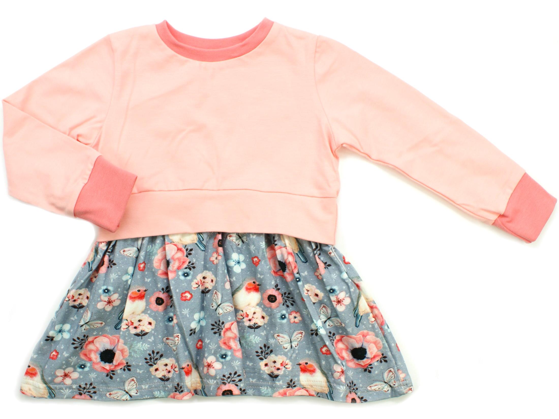"Girly Dress Kinderkleid Vögel ""Birds"" grau apricot"