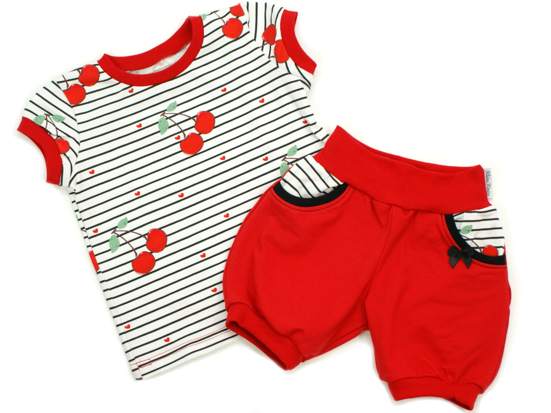 """Kinder T-Shirt Kirschen """"Cherry"""" Rüschen Streifen rot"""