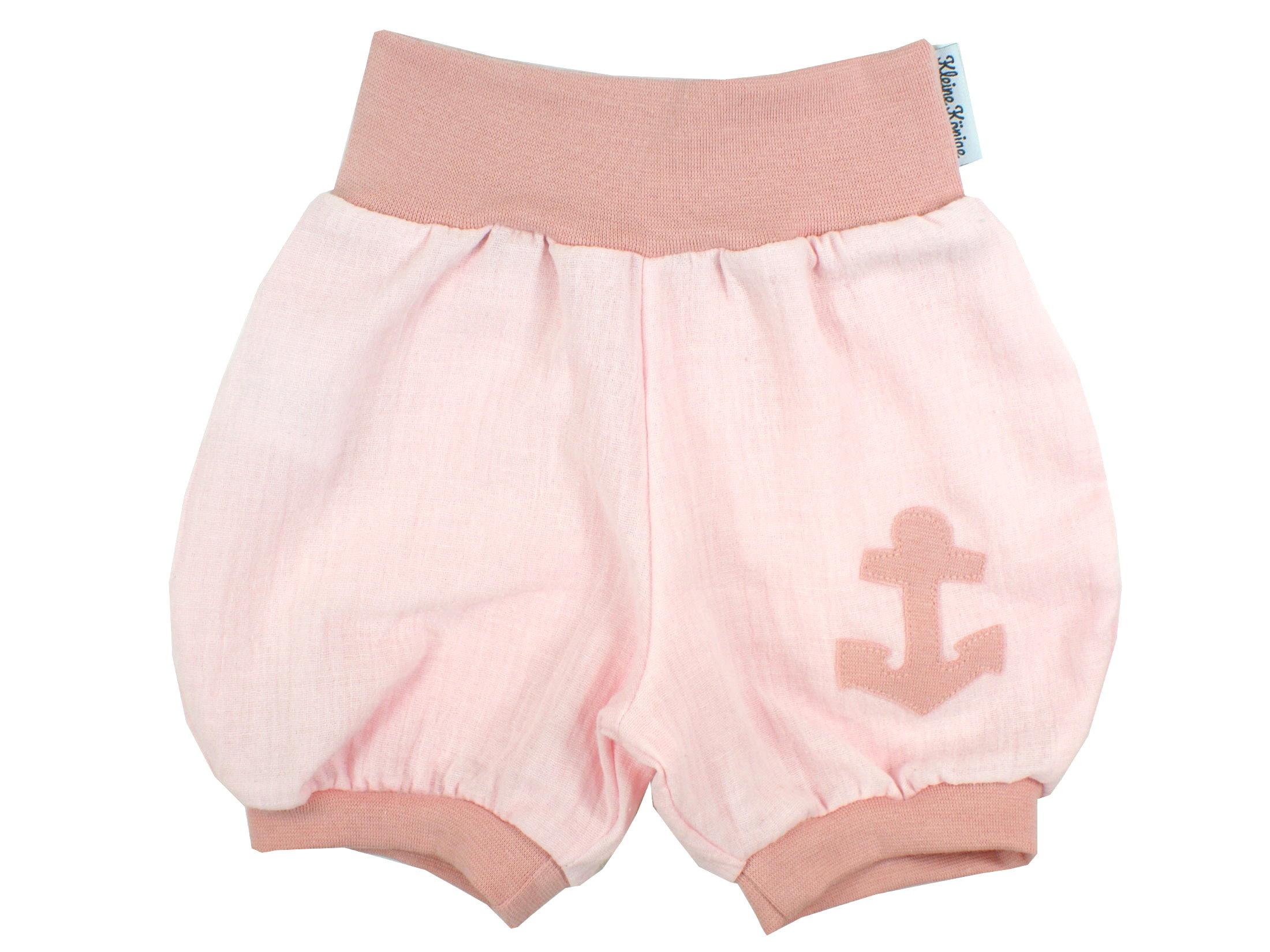 "Musselin Kinder Shorts Anker ""Uni"" rosa"