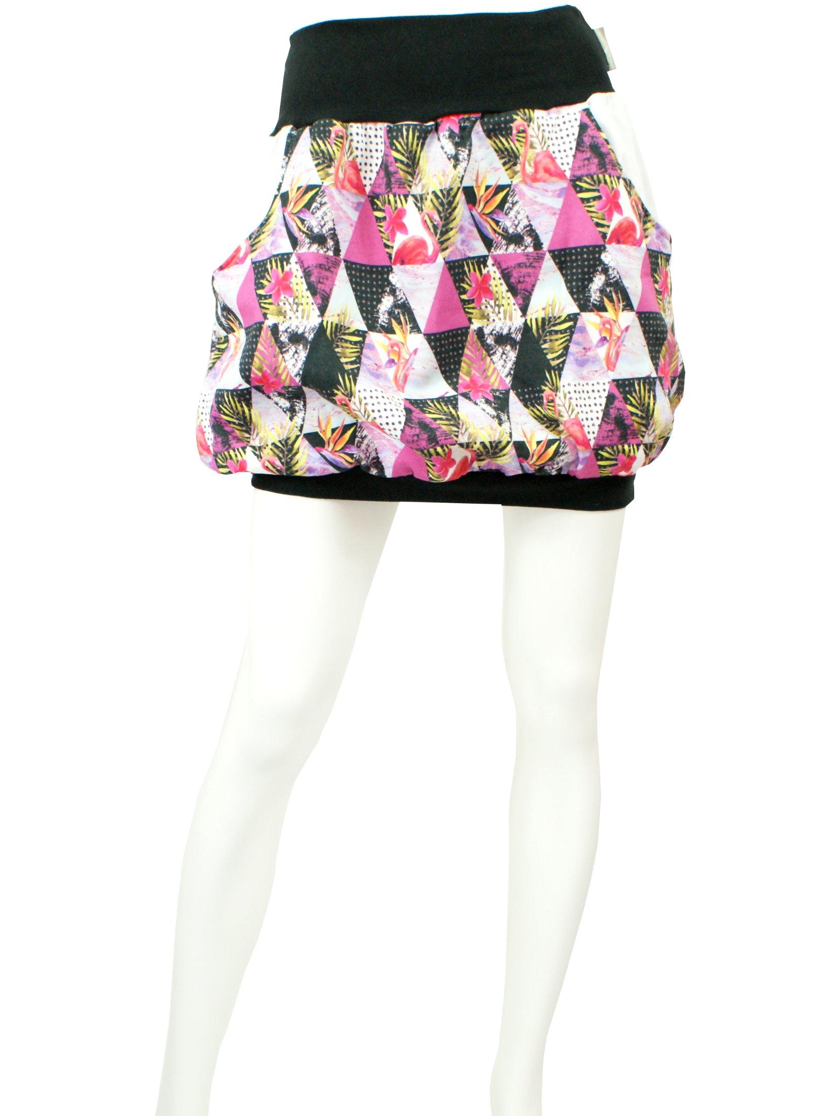 """Damen Ballonrock """"Graphic Flamingo"""" pink schwarz mit Taschen"""