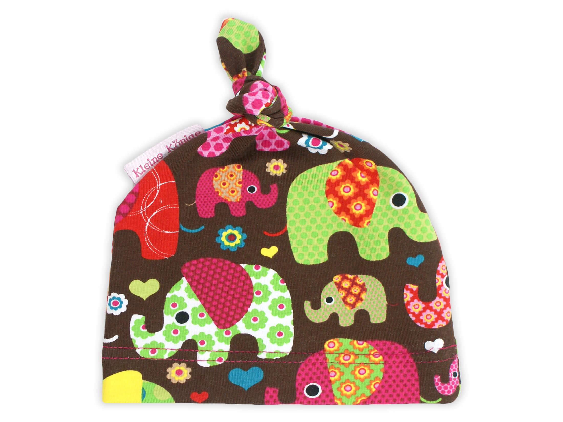 "Babymütze Knotenmütze ""Elefantenparty"" pink"