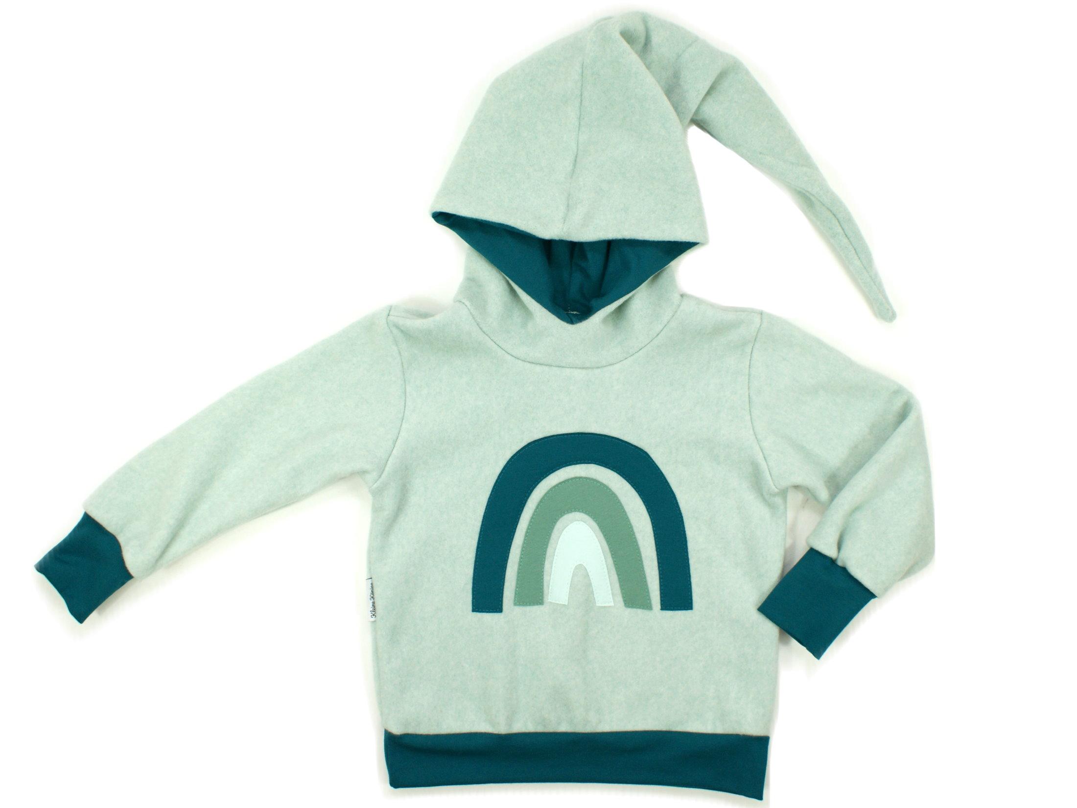 "Kinder Fleecepullover mit Zipfelkapuze Boho ""Rainbow"" mint"