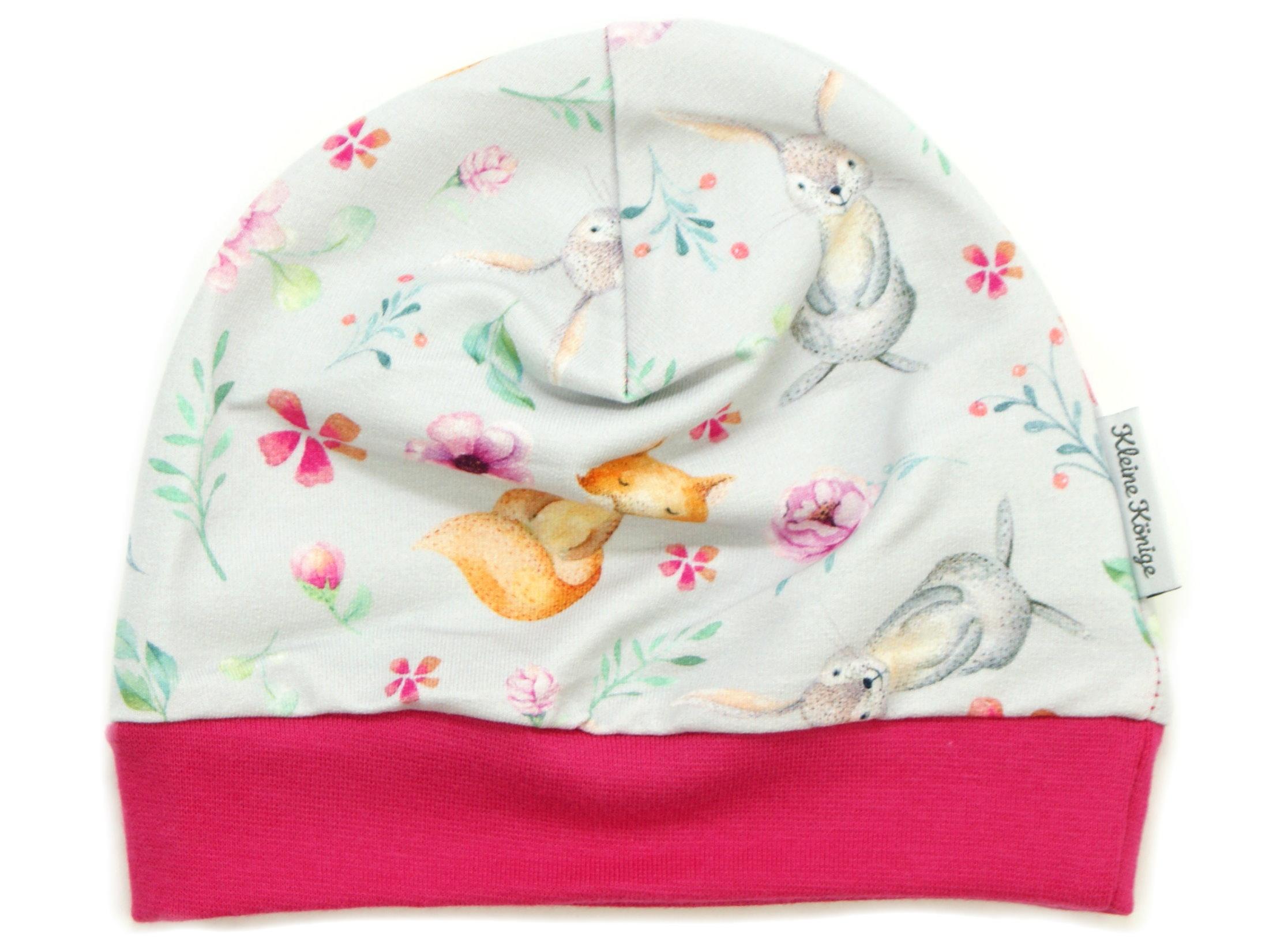 "Kindermütze Hase Fuchs ""Bloomy Wood"" hellgrau pink"