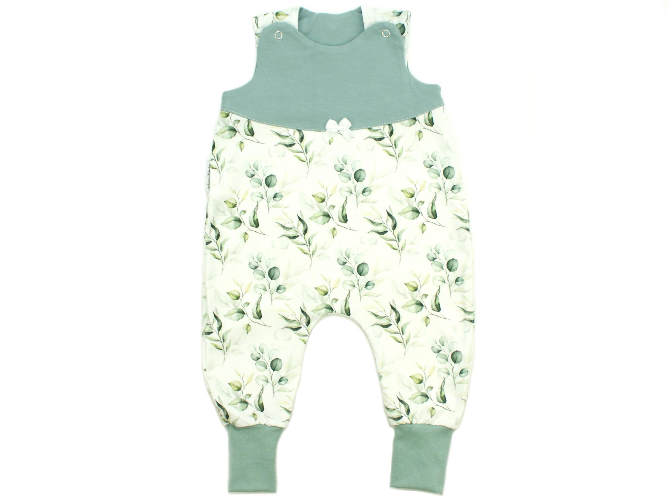 "Baby Strampler ""Eukalyptus"" mint weiß"