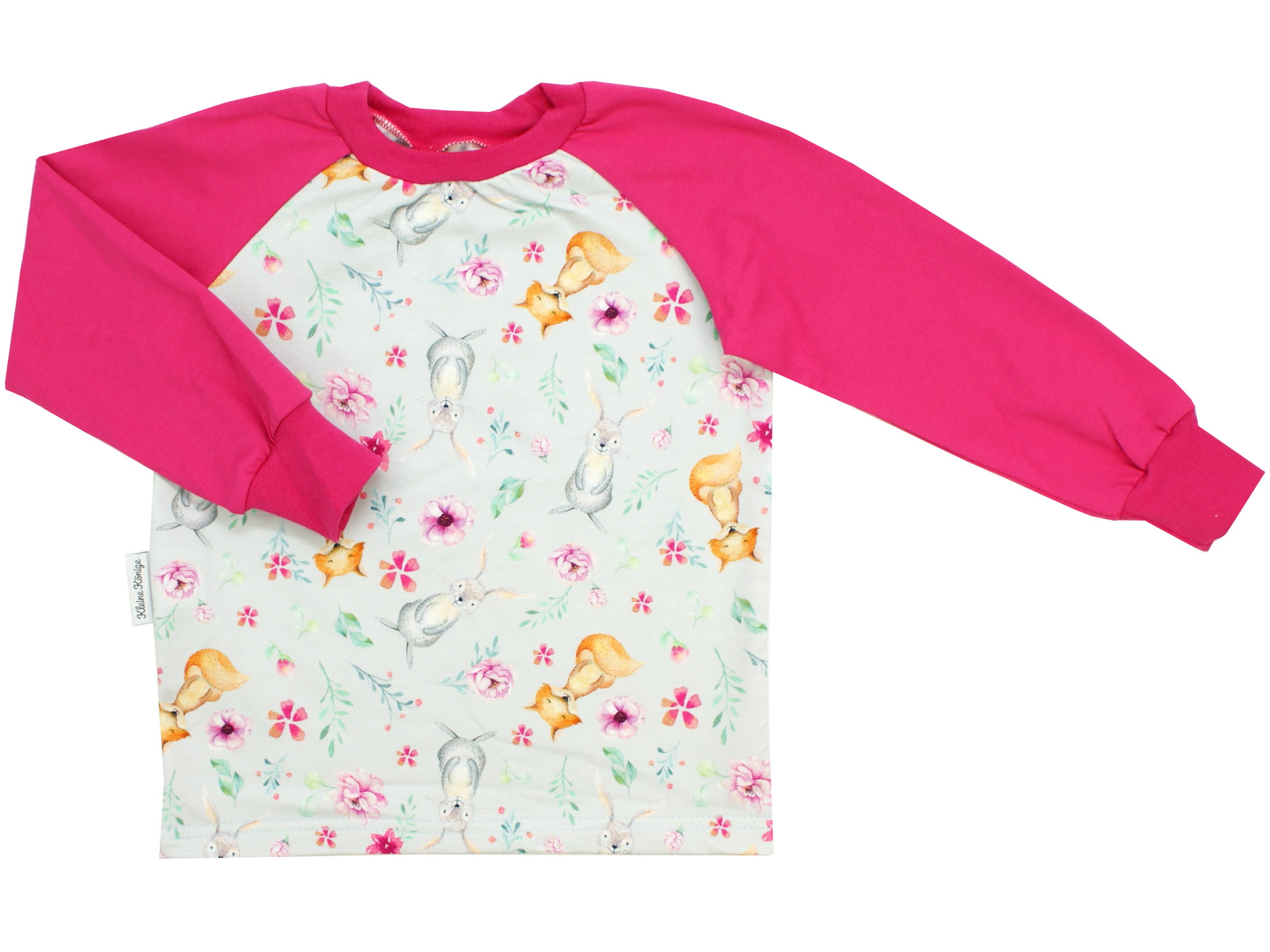 "Kinder Langarmshirt Hase Fuchs ""Bloomy Wood"" hellgrau pink"