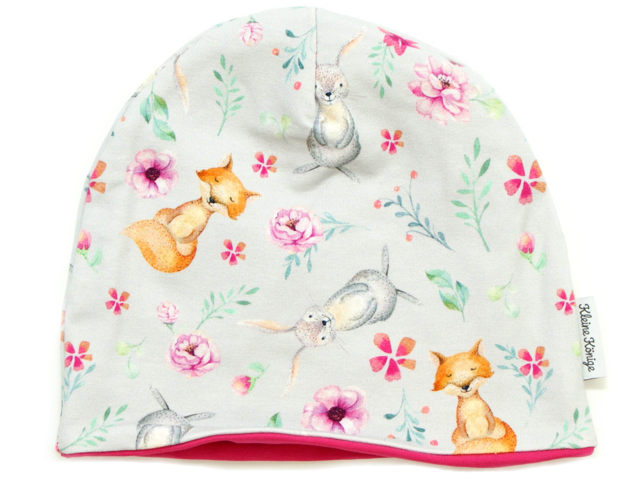 """Kindermütze Beanie Hase Fuchs """"Bloomy Wood"""" hellgrau pink"""