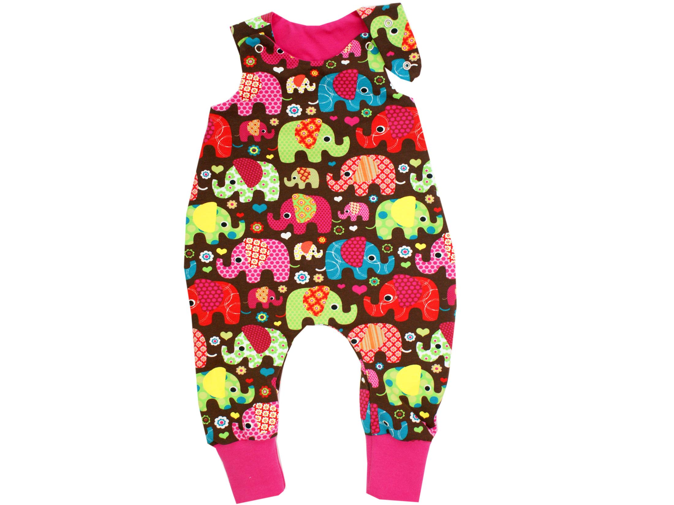 "Baby Strampler ""Elefantenparty"" pink braun"