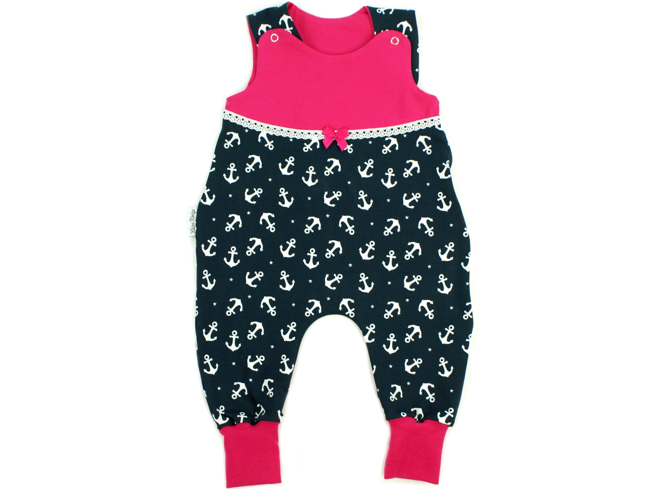 "Baby Strampler Anker ""Ankertanz"" marineblau pink"