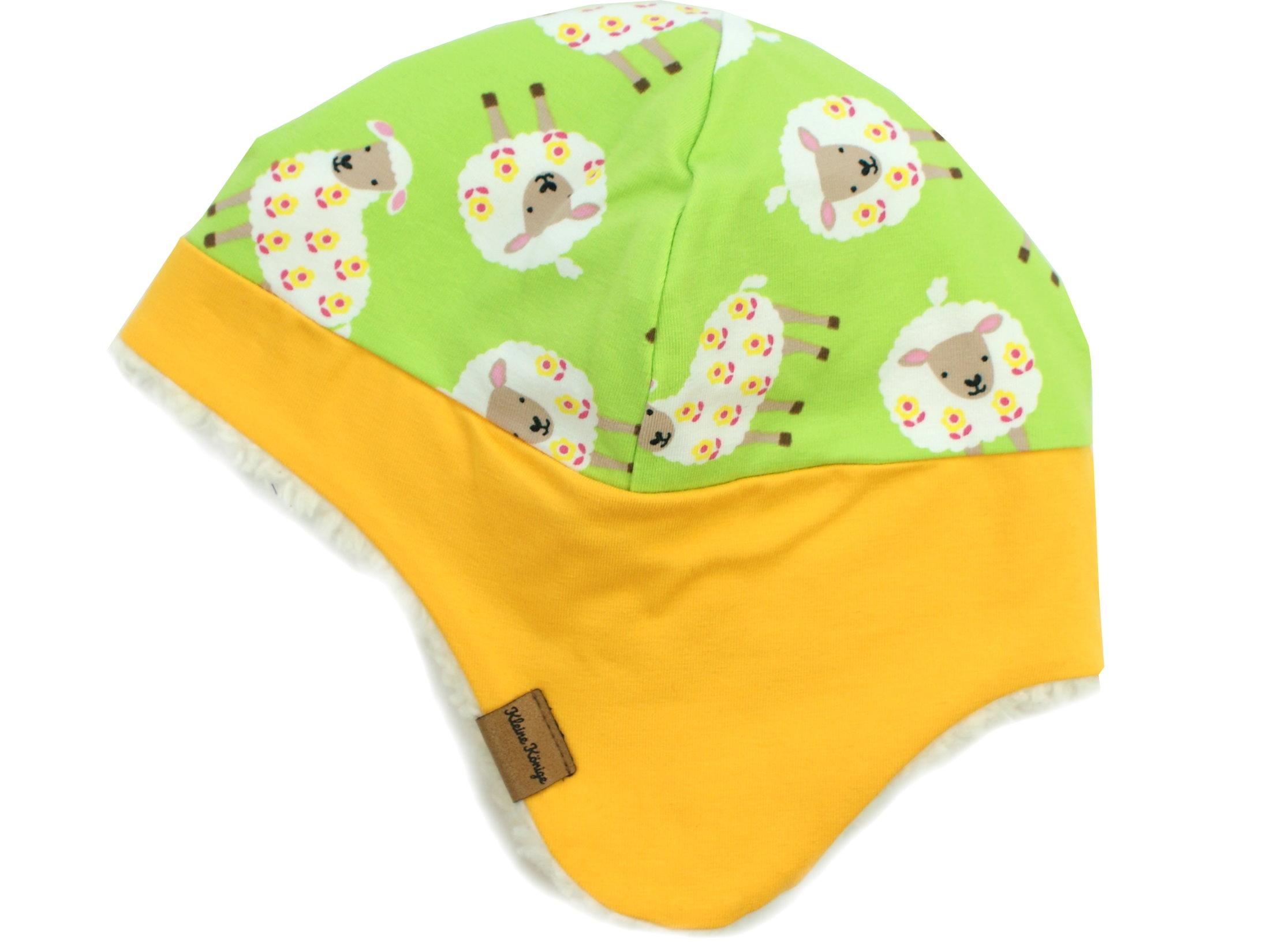"""Wintermütze mit Teddyfell """"Schäfchen"""" hellgrün gelb"""