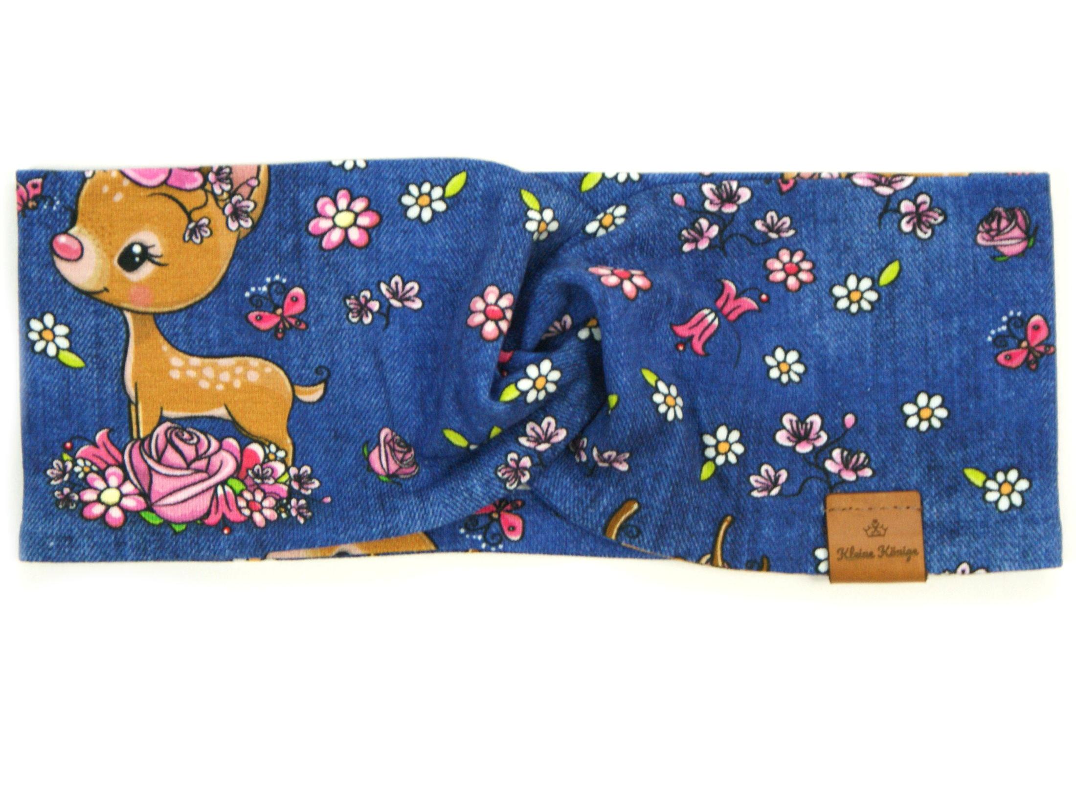 "Kinder Haarband Stirnband Reh ""Bloomy Bambi"" jeansblau pink"