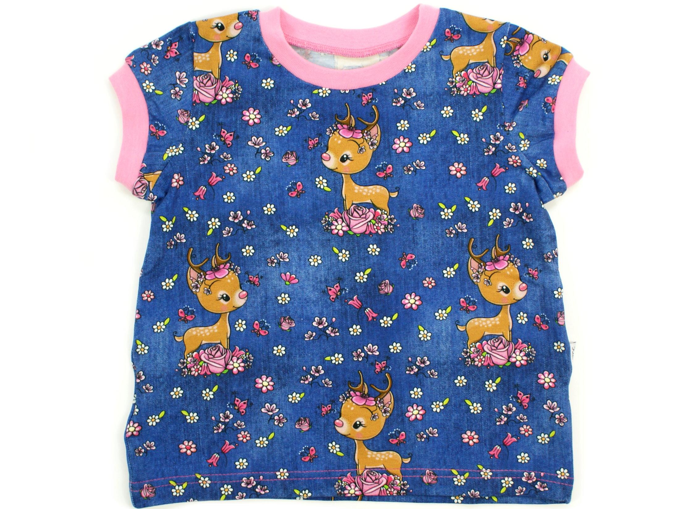"Kinder T-Shirt Reh ""Bloomy Bambi"" jeansblau pink"