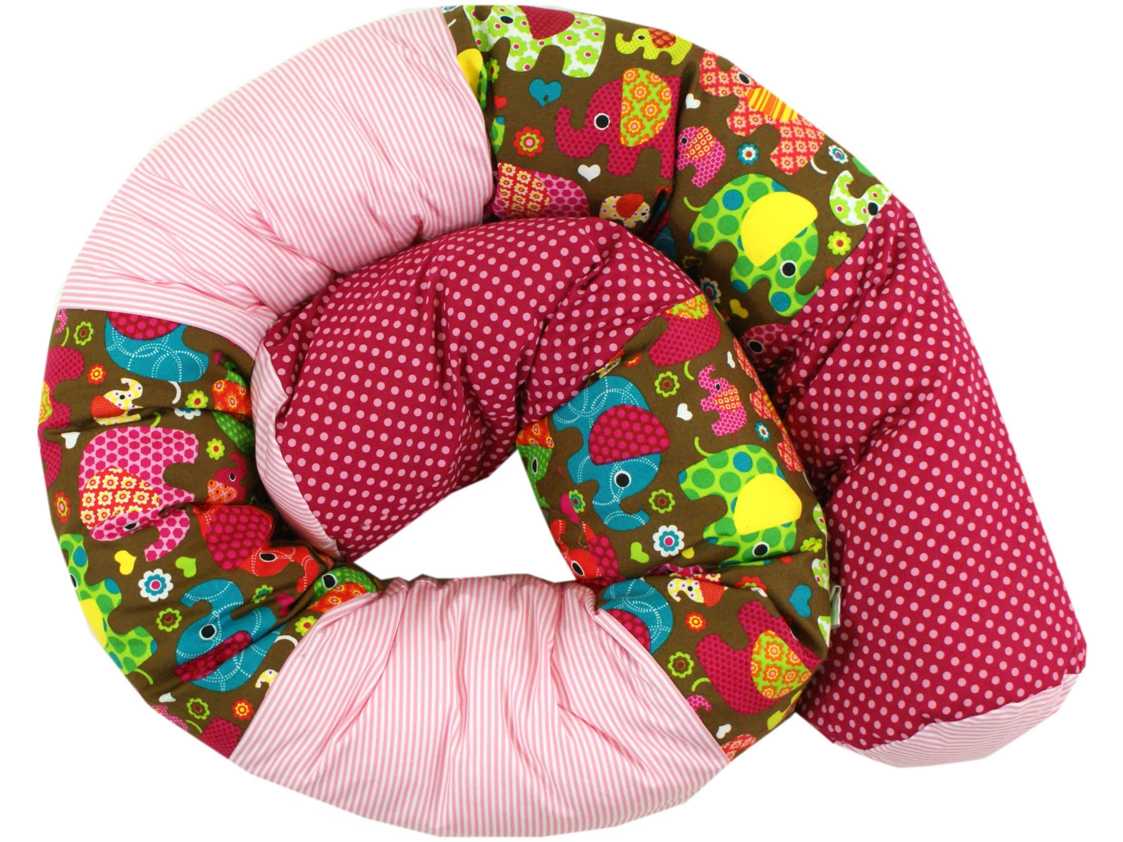 """Baby Bettschlange Nestchen """"Elefantenparty"""" pink"""