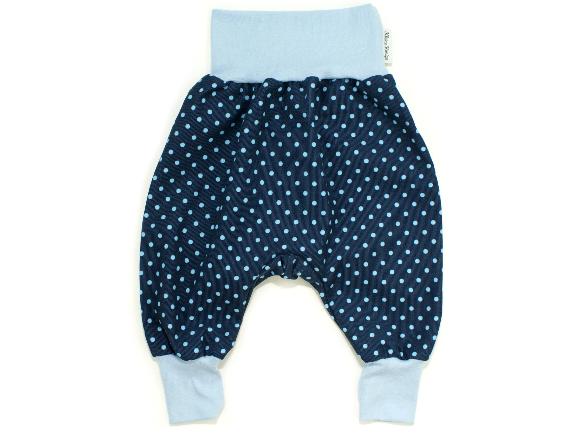"Baby Pumphose aus Babycord ""Dots"" marineblau"