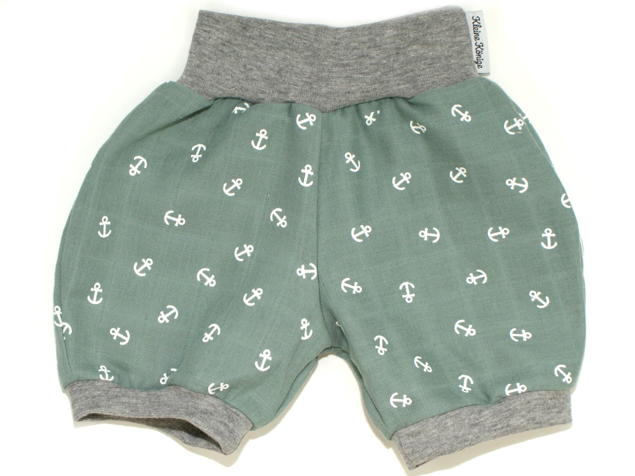 "Musselin Kinder Shorts ""Anker"" mint hellgrau"