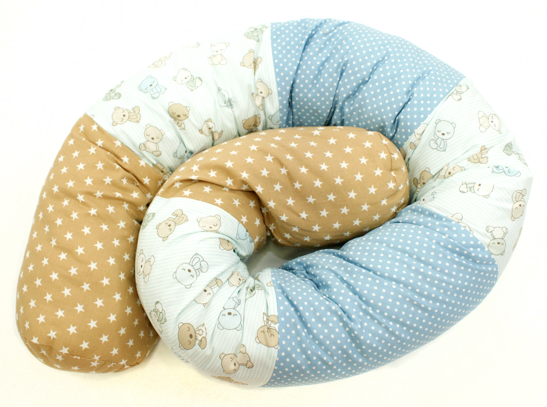 """Baby Bettschlange Nestchen """"Teddybär"""" hellblau beige"""