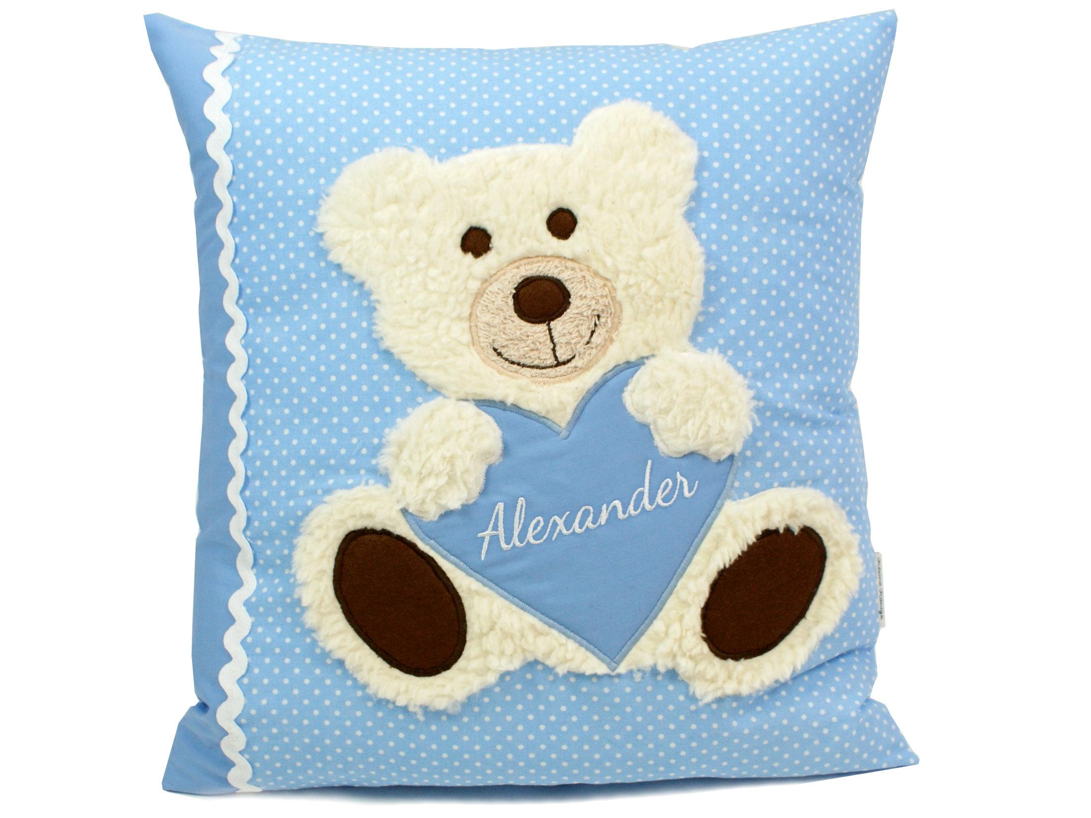 "Namenskissen ""Teddybär"" Herz in hellblau"