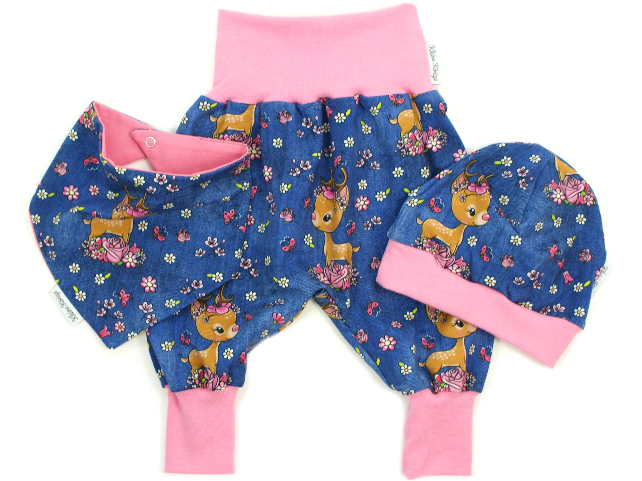 "Kindermütze Reh ""Bloomy Bambi"" jeansblau pink"