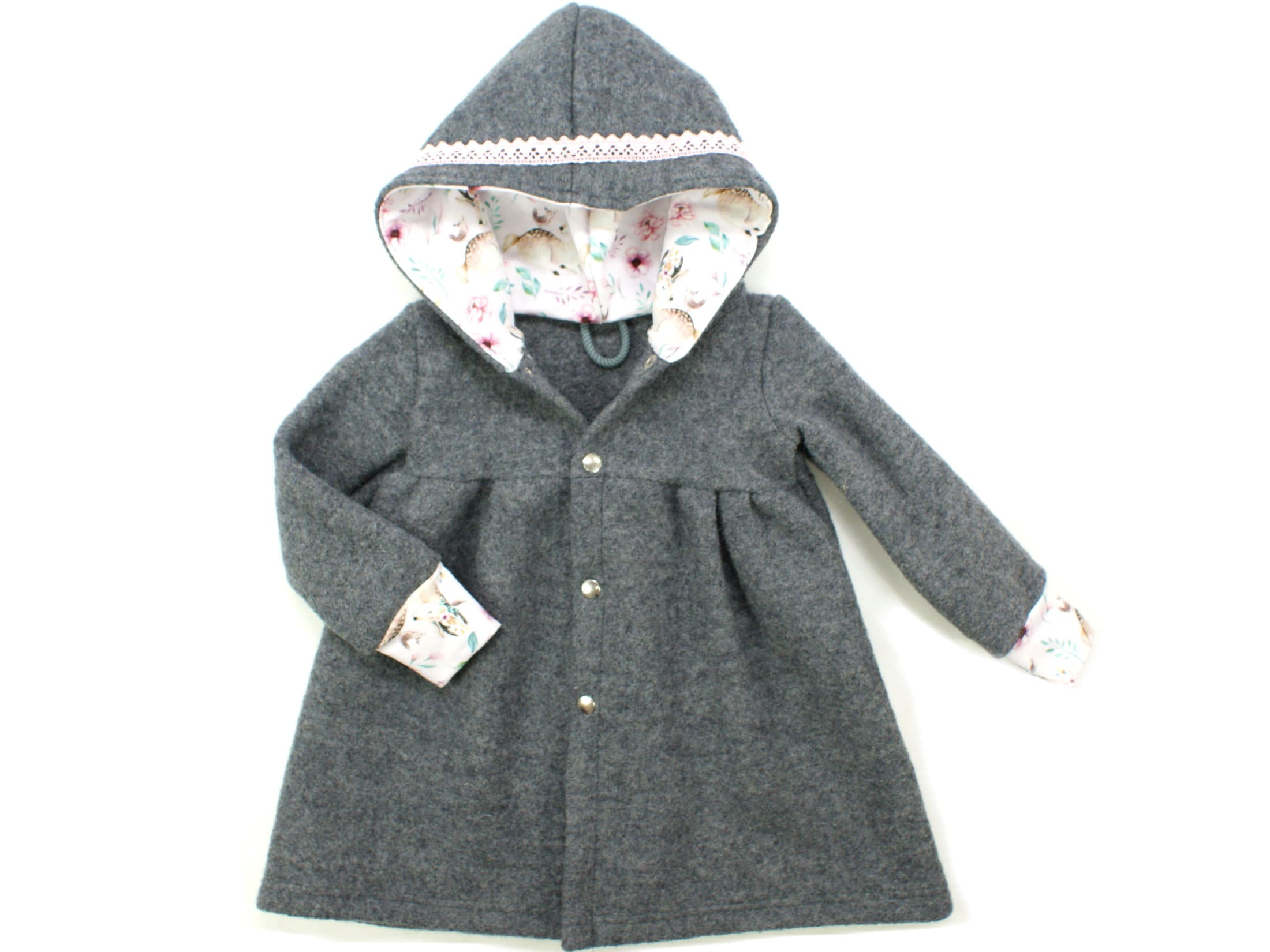 Kinder Walkmantel aus Wollwalk in Grau